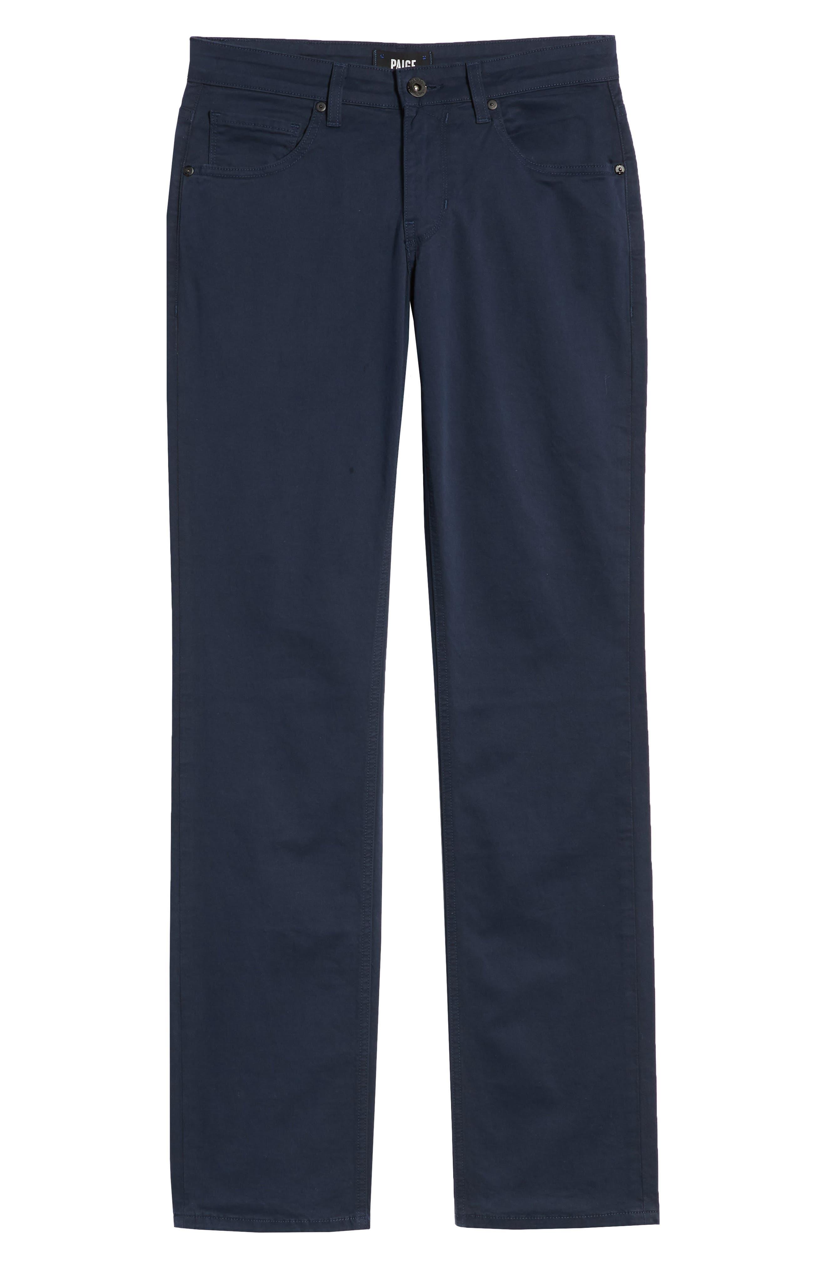 PAIGE, Normandie Slim Straight Leg Twill Pants, Alternate thumbnail 2, color, NAVY CADET