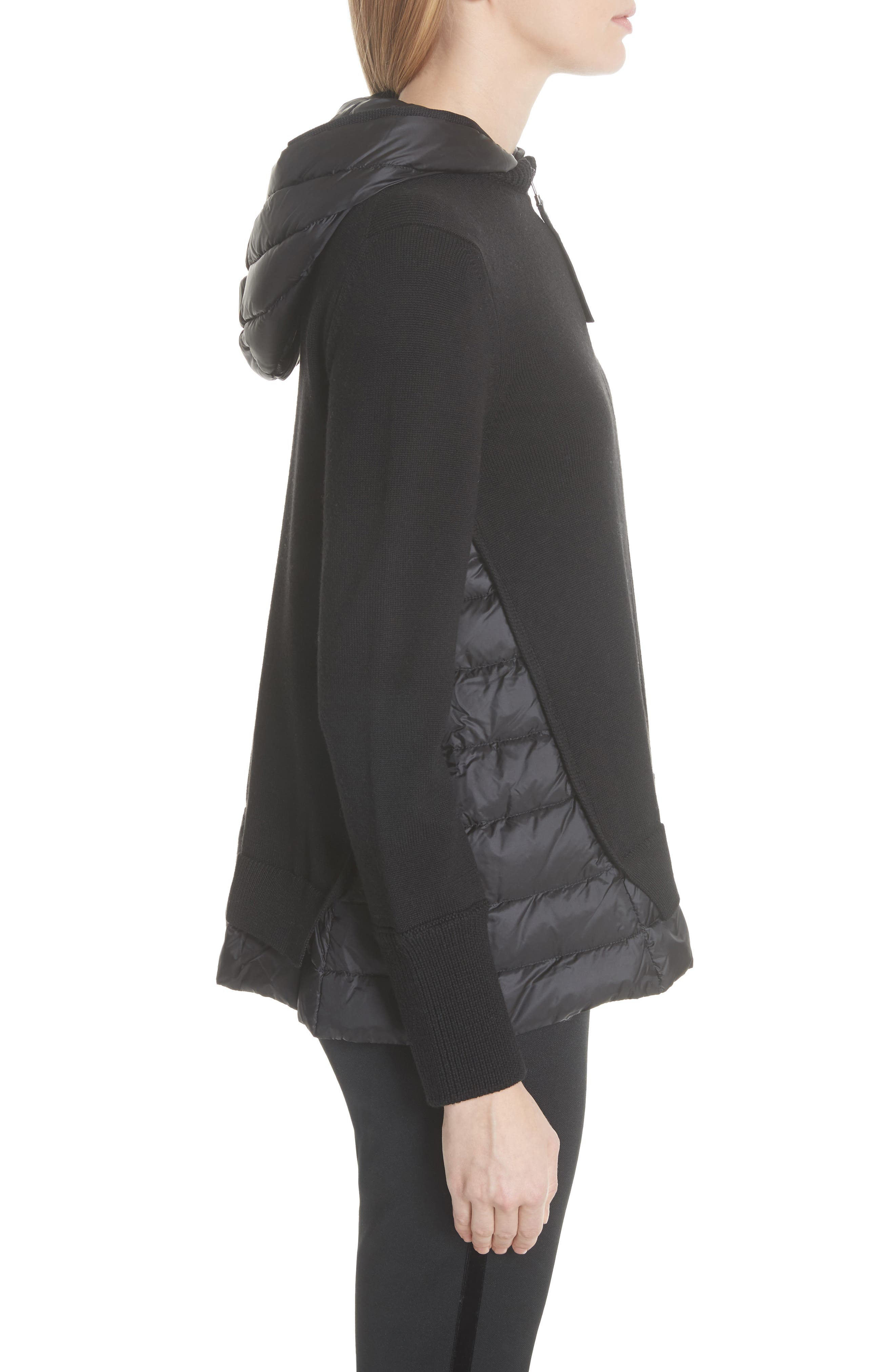 MONCLER, Hooded Quilted Cardigan, Alternate thumbnail 3, color, BLACK