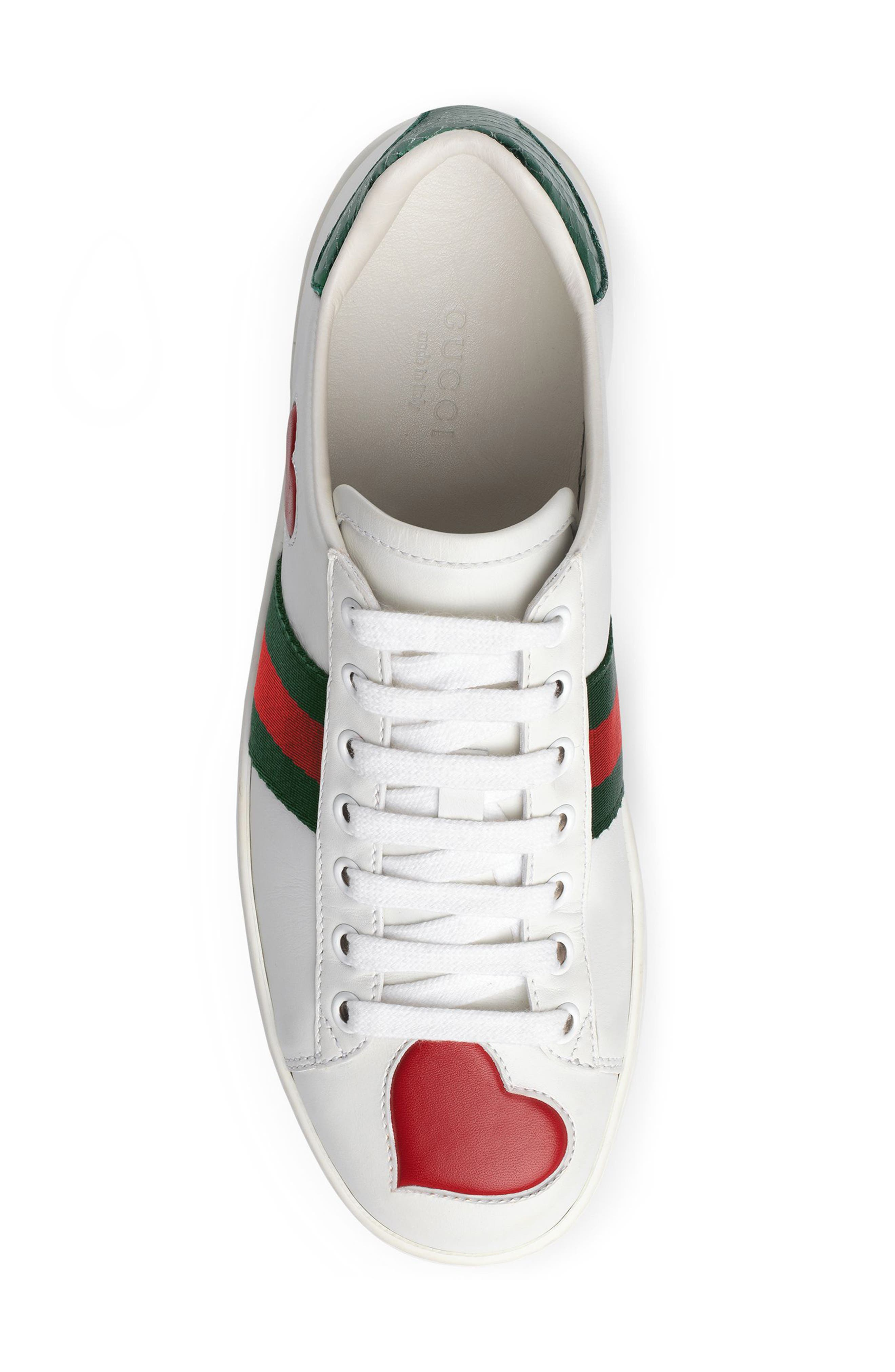 GUCCI, New Ace Heart Sneaker, Alternate thumbnail 4, color, WHITE