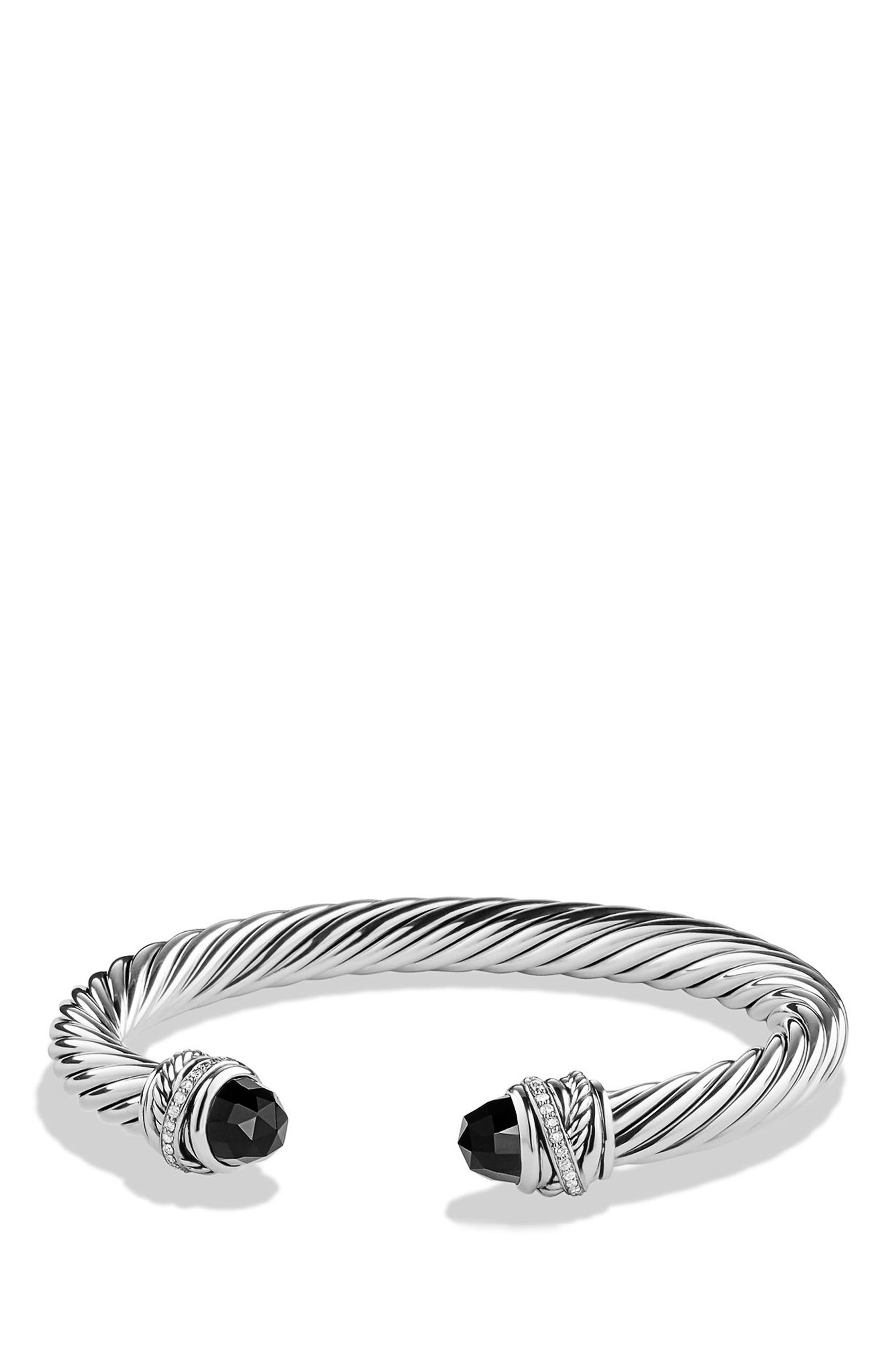 DAVID YURMAN, Crossover Bracelet with Diamonds, 7mm, Main thumbnail 1, color, BLACK ONYX