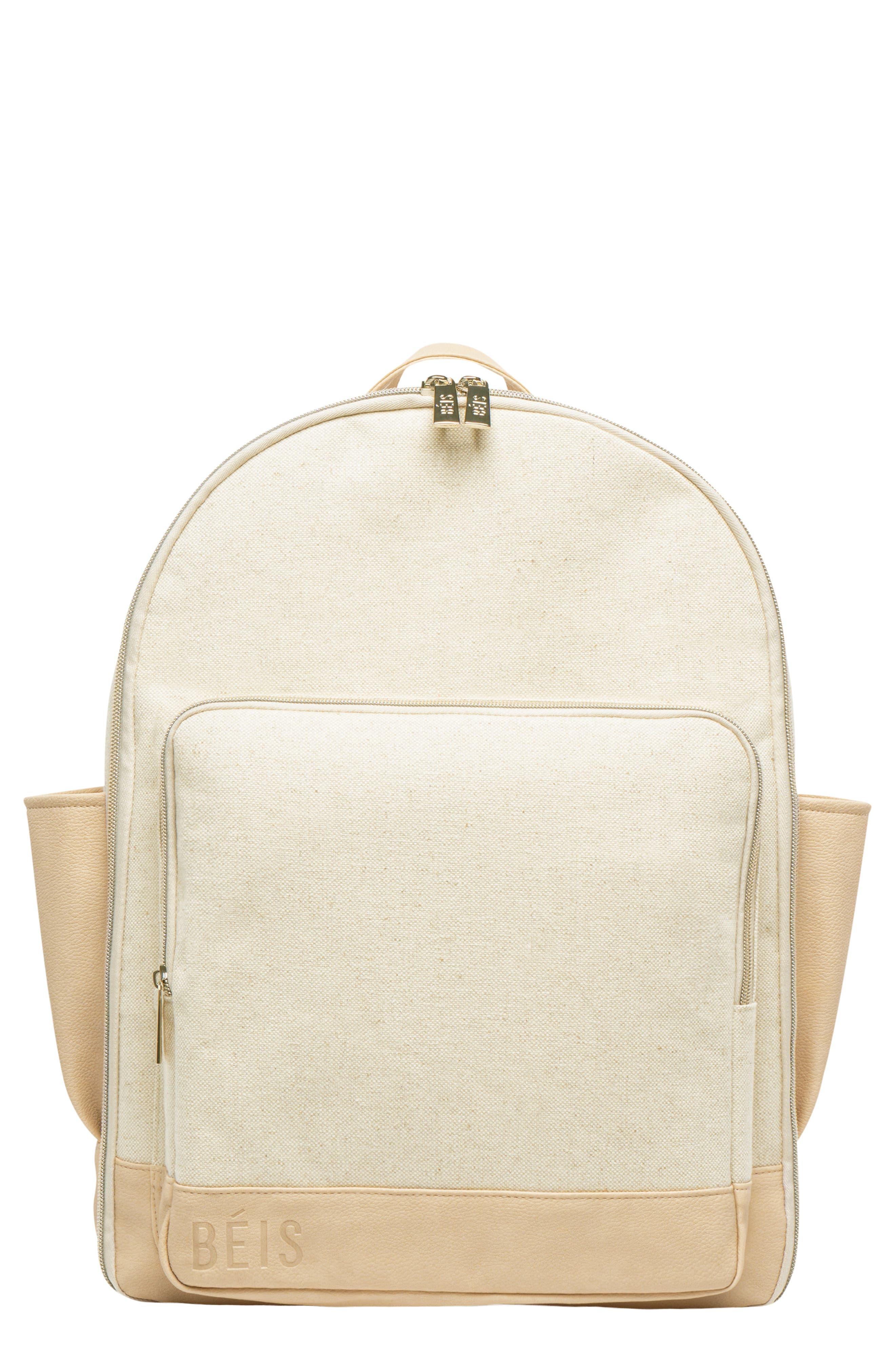 BÉIS Travel Multi Function Travel Backpack, Main, color, BEIGE