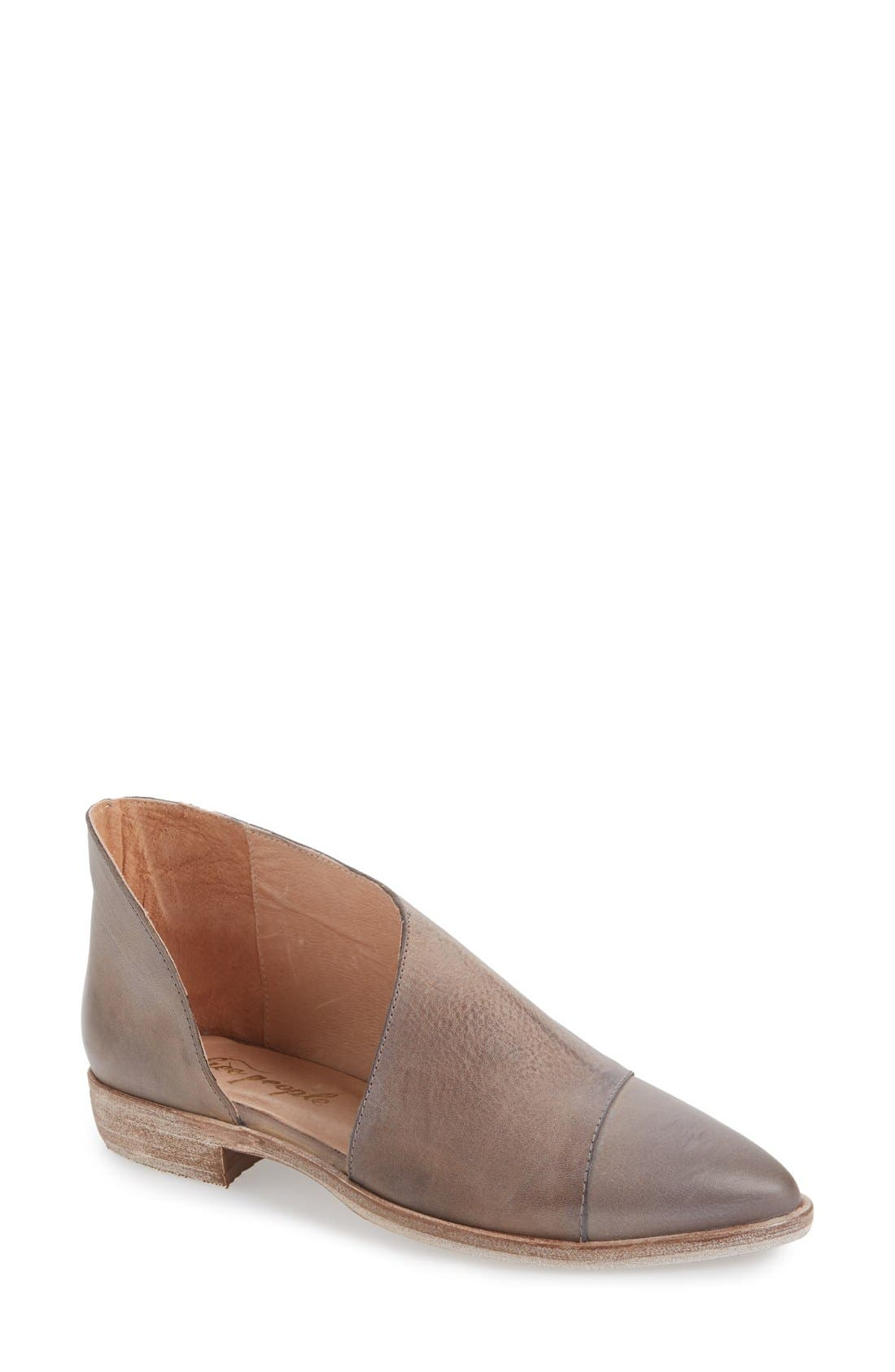 FREE PEOPLE, 'Royale' Pointy Toe Flat, Main thumbnail 1, color, GREY LEATHER