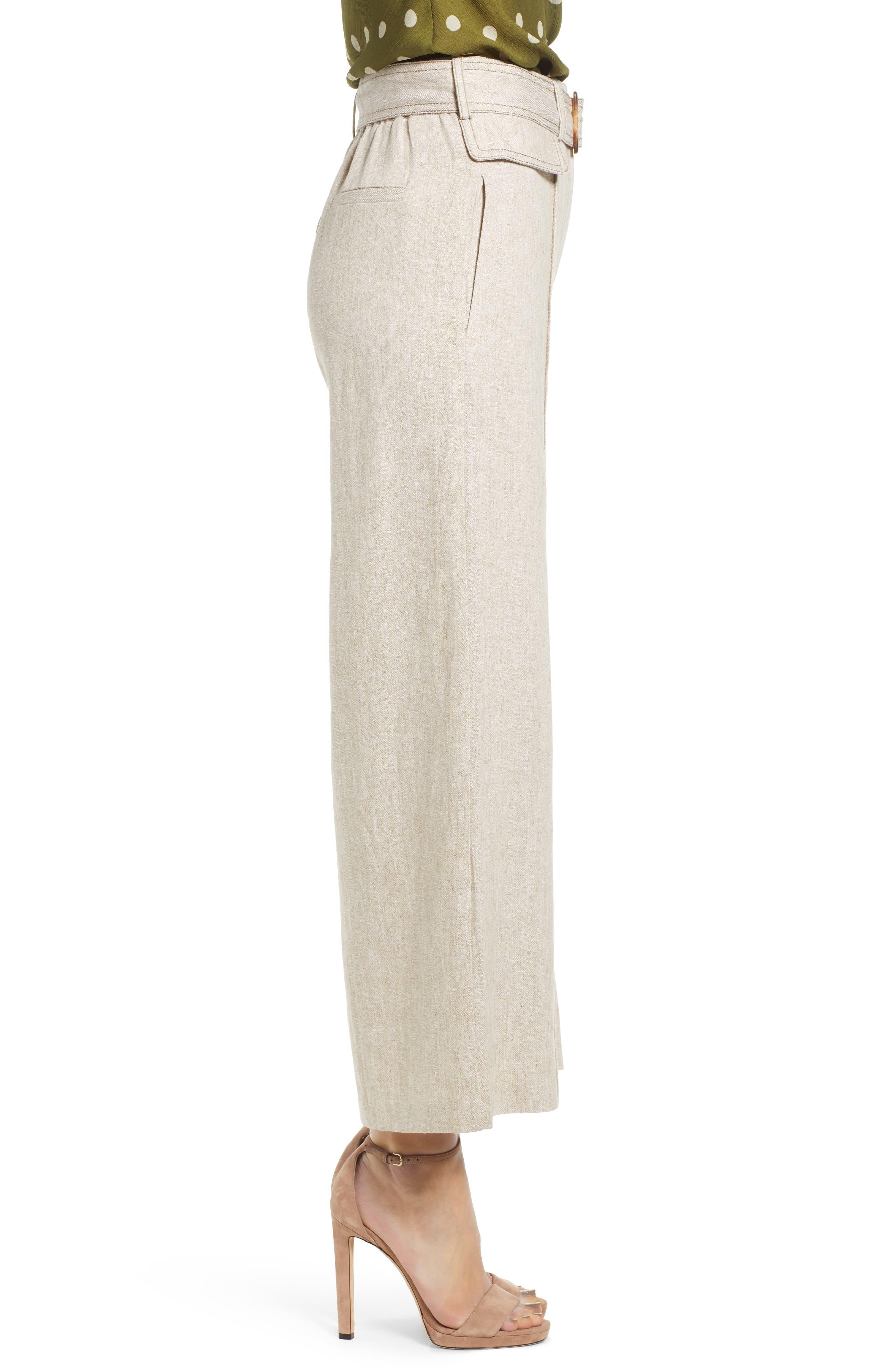 CHRISELLE LIM COLLECTION, Chriselle Lim Toulouse Wide Leg Crop Trousers, Alternate thumbnail 4, color, OATMEAL