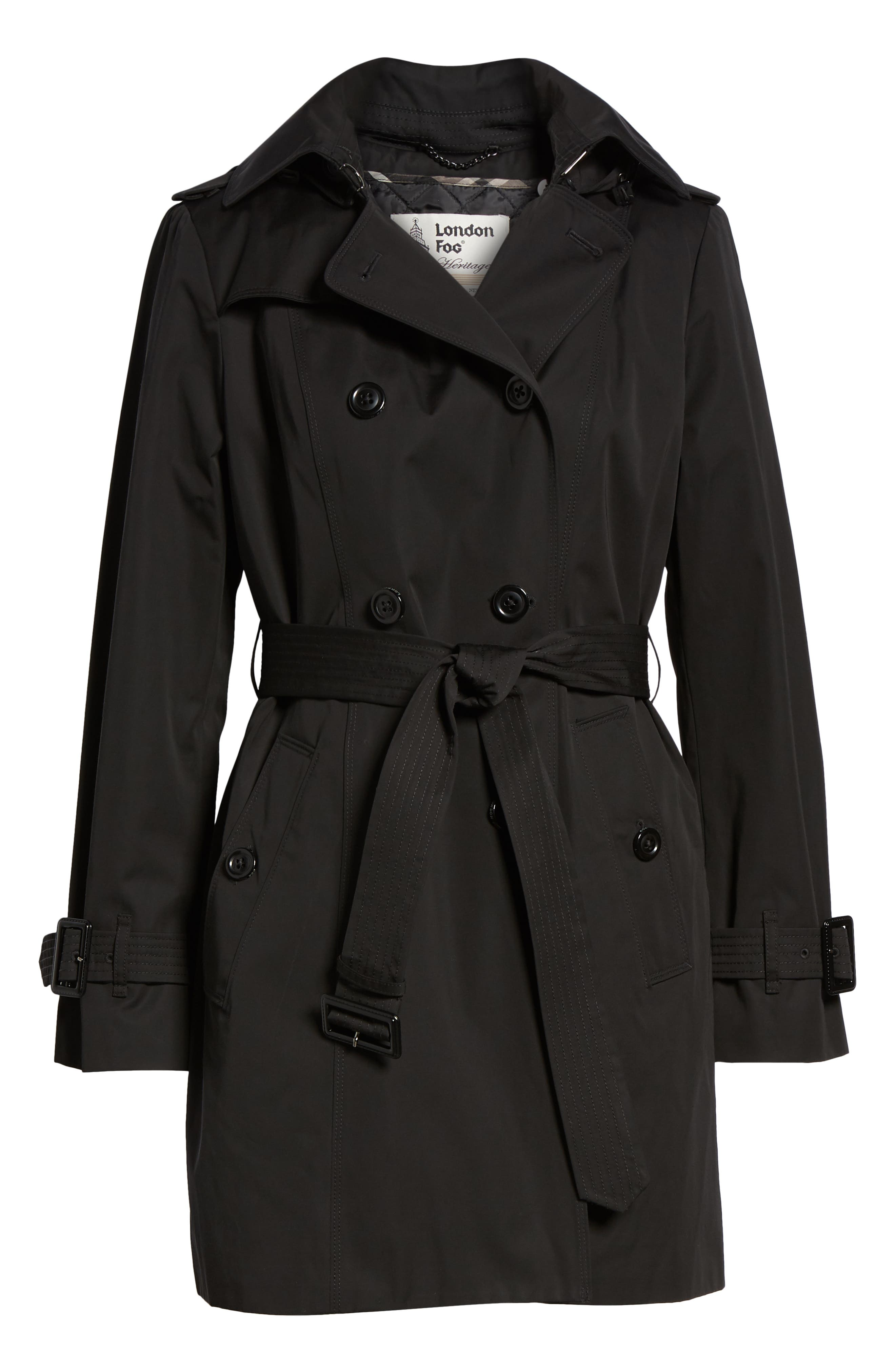 LONDON FOG, Trench Coat with Detachable Liner & Hood, Alternate thumbnail 6, color, BLACK