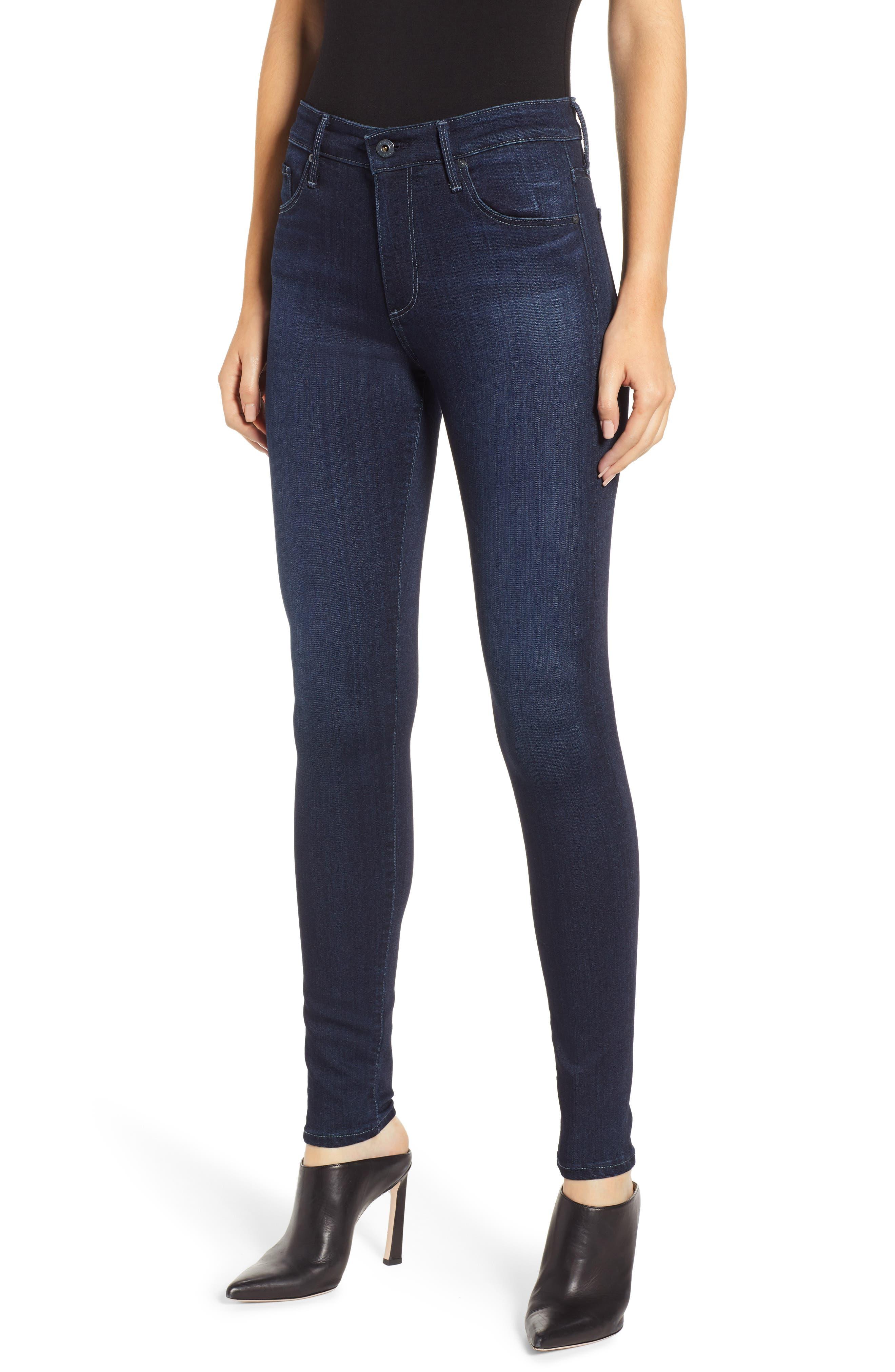 AG, Farrah High Waist Skinny Jeans, Main thumbnail 1, color, BLUE BASIN