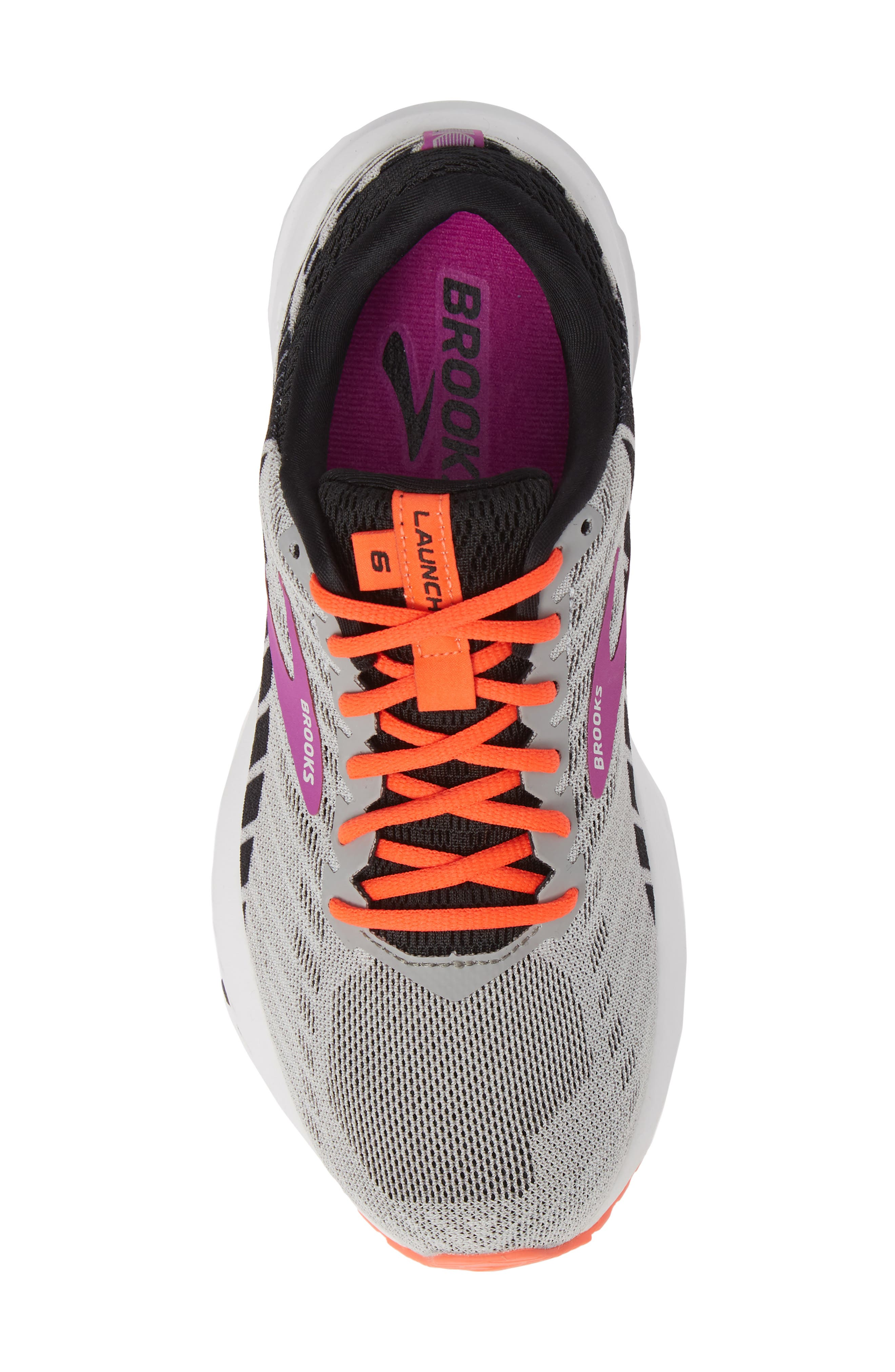 BROOKS, Launch 6 Running Shoe, Alternate thumbnail 5, color, GREY/ BLACK/ PURPLE