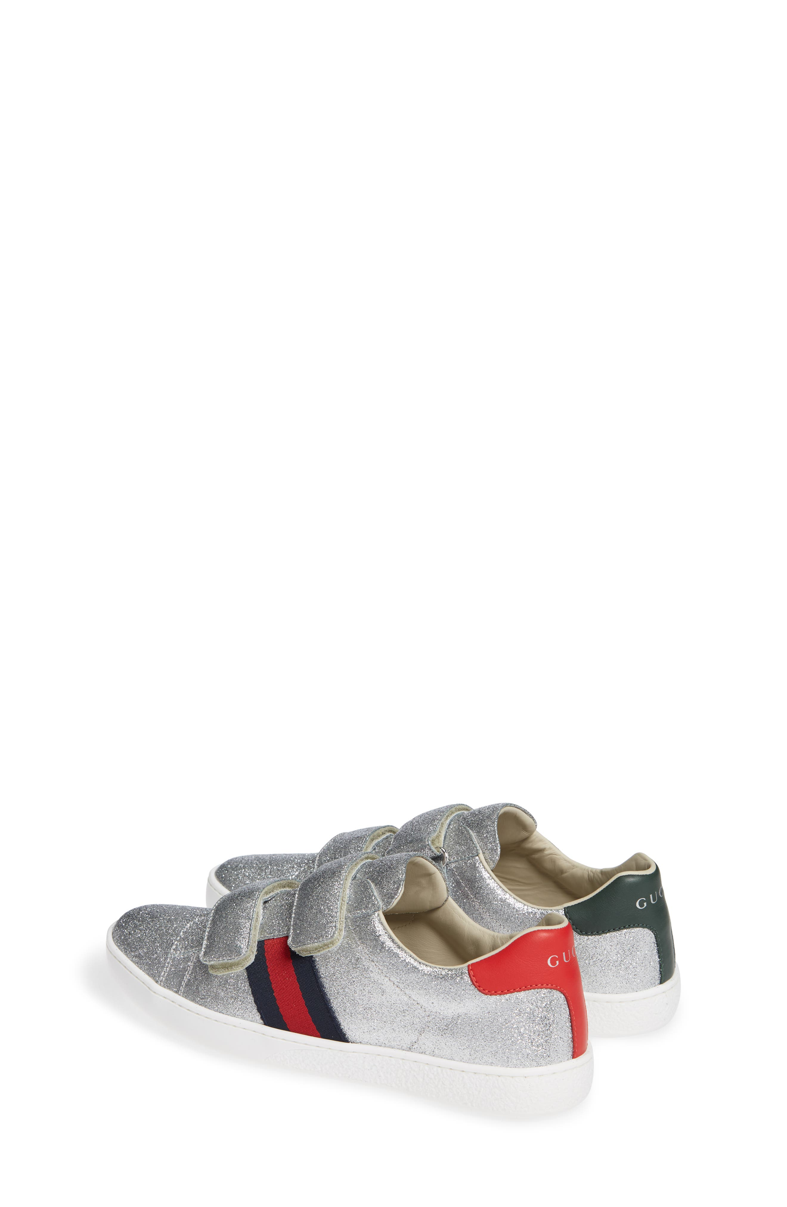 GUCCI, New Ace Sneaker, Alternate thumbnail 3, color, SILVER GLITTER