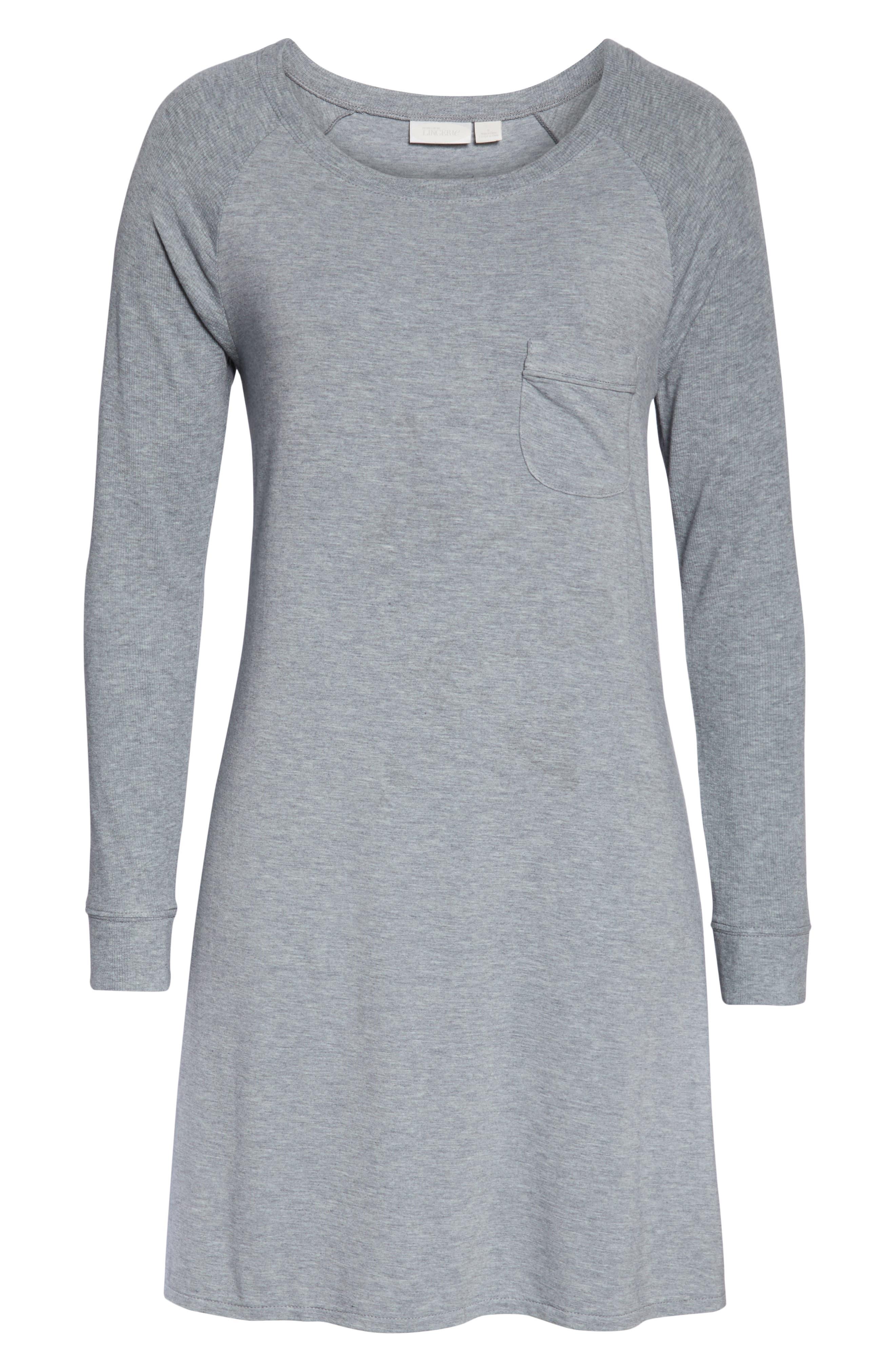 NORDSTROM LINGERIE, Breathe Sleep Shirt, Alternate thumbnail 6, color, GREY STEEL HEATHER