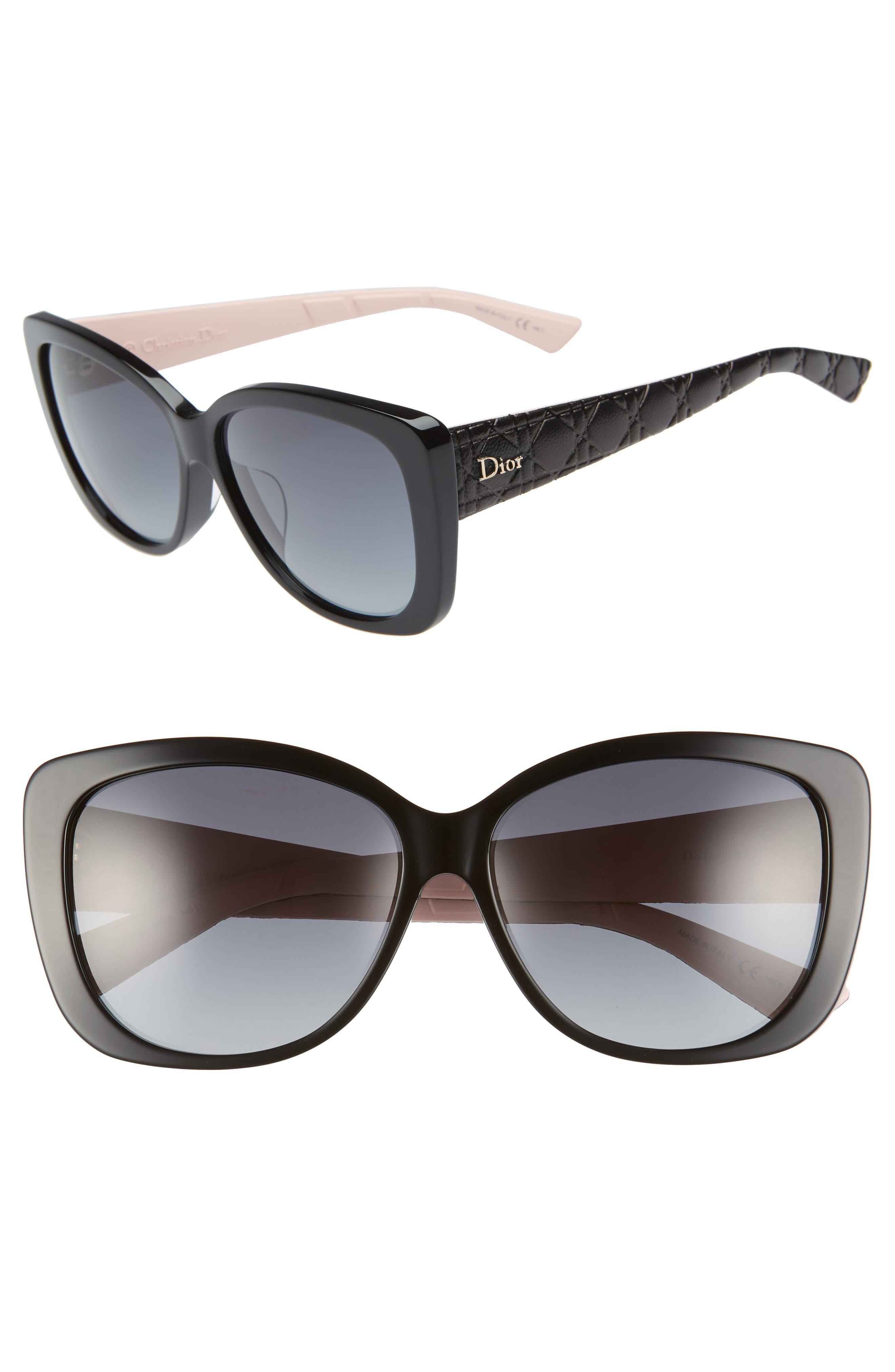 DIOR, Lady 59mm Cat Eye Sunglasses, Main thumbnail 1, color, 001