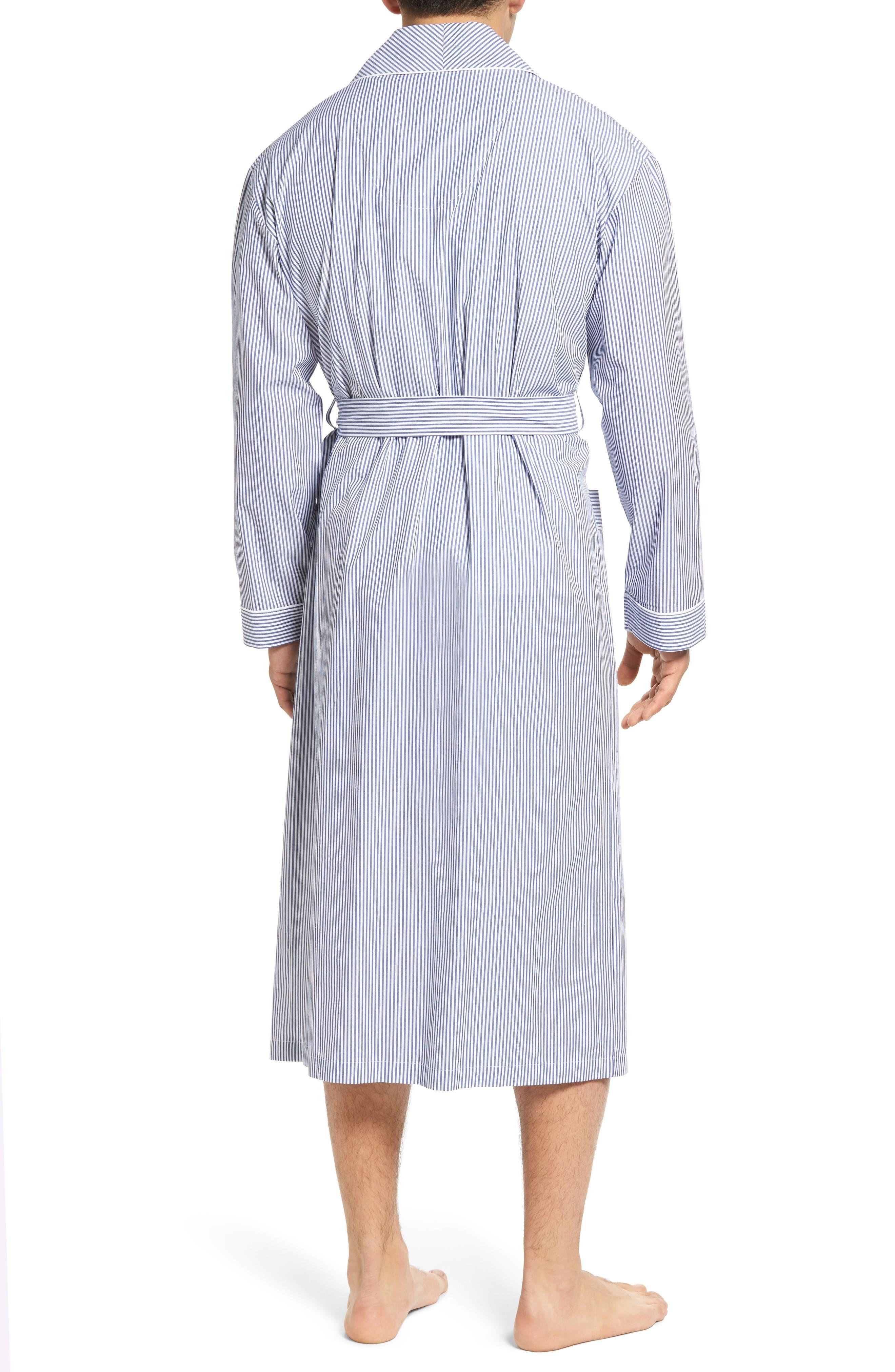 MAJESTIC INTERNATIONAL, Bengal Stripe Robe, Alternate thumbnail 2, color, NAVY/ WHITE