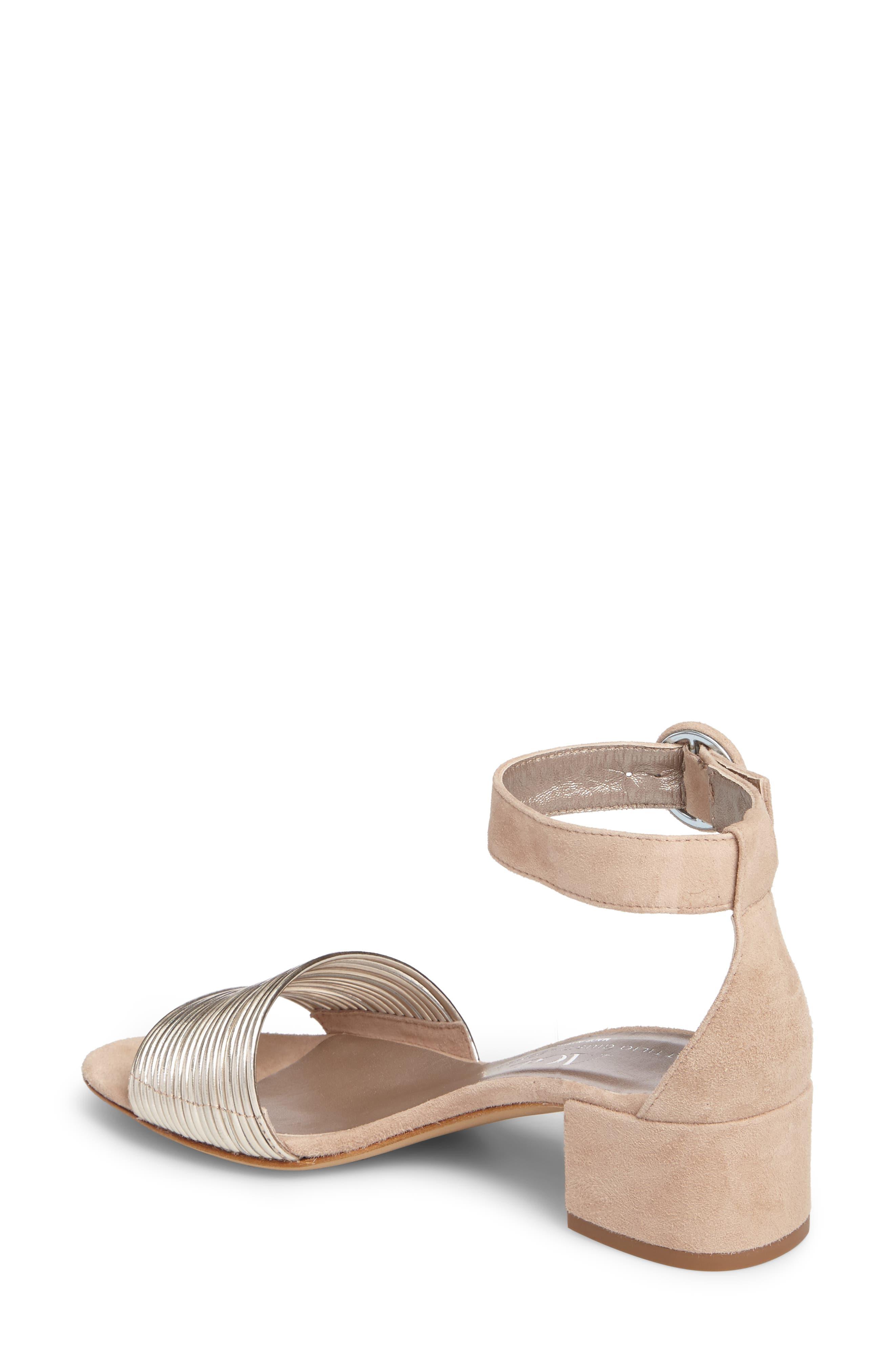 AGL, Ankle Strap Sandal, Alternate thumbnail 2, color, PLATINUM SUEDE