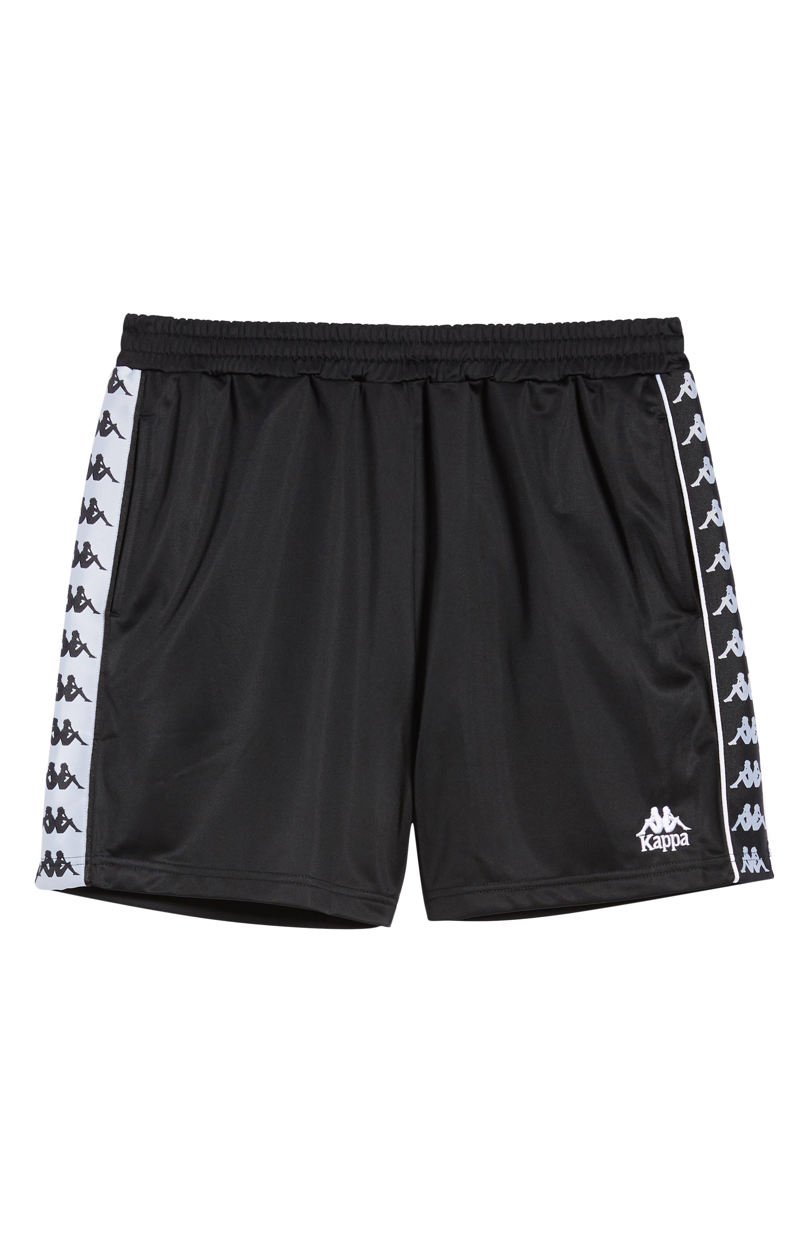 KAPPA, 222 Banda Cole Athletic Shorts, Alternate thumbnail 7, color, BLACK/ WHITE