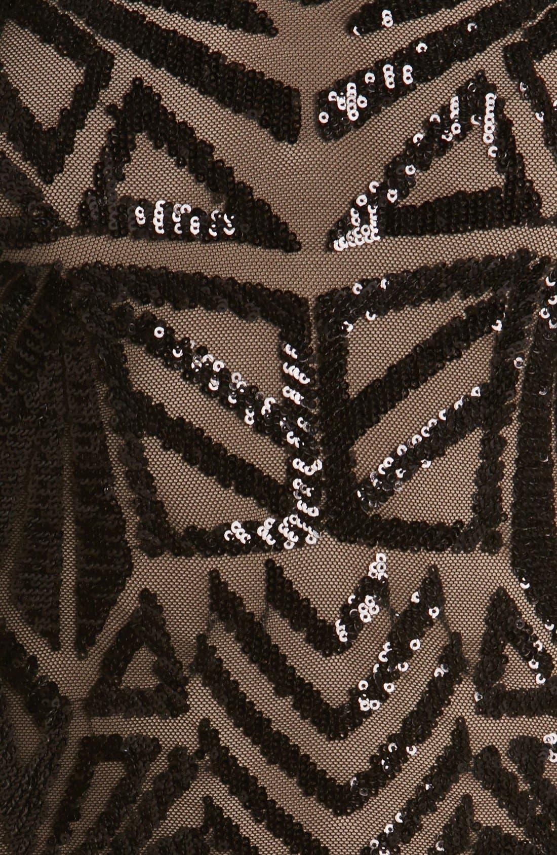 DRESS THE POPULATION, Emery Midi Dress, Alternate thumbnail 6, color, 001
