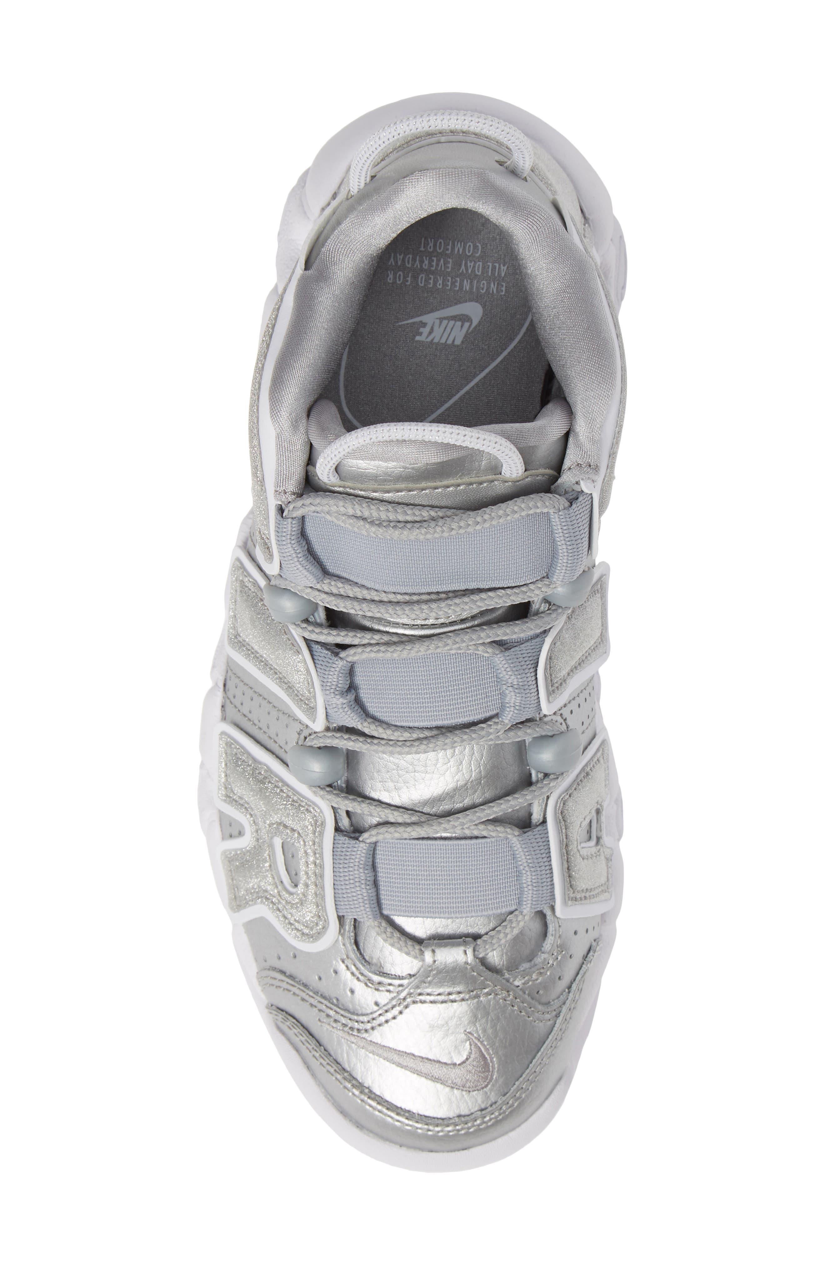 NIKE, Air More Uptempo Sneaker, Alternate thumbnail 5, color, METALLIC SILVER