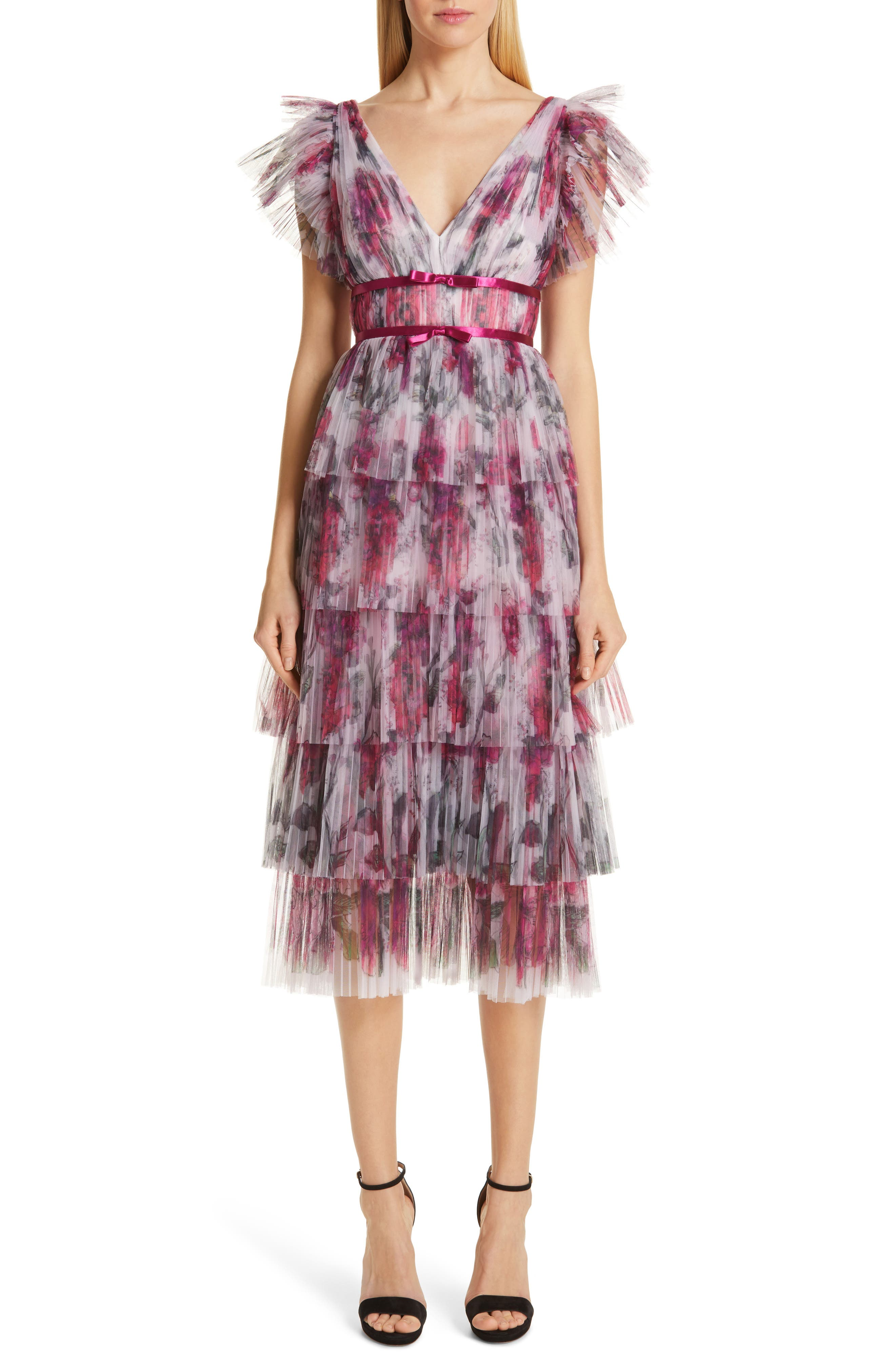 Marchesa Notte Floral Tiered Midi Cocktail Dress