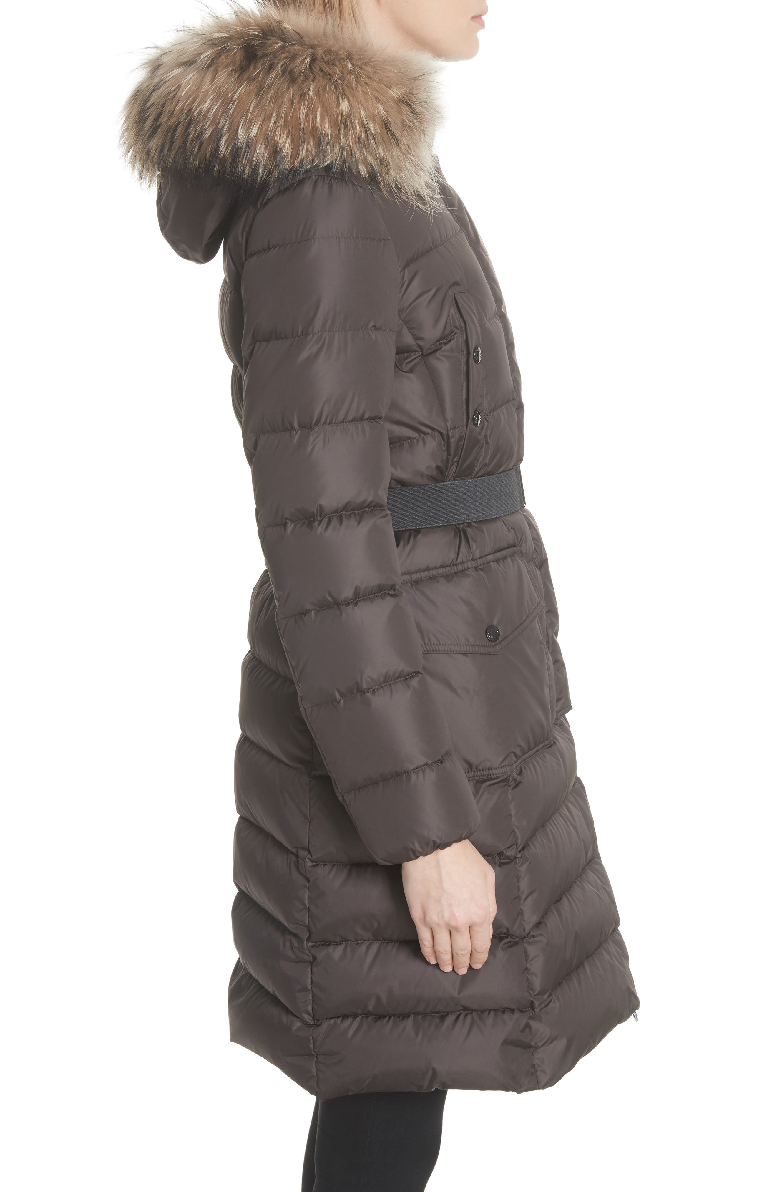 MONCLER, 'Khloe' Water Resistant Nylon Down Puffer Parka with Removable Genuine Fox Fur Trim, Alternate thumbnail 4, color, BROWN