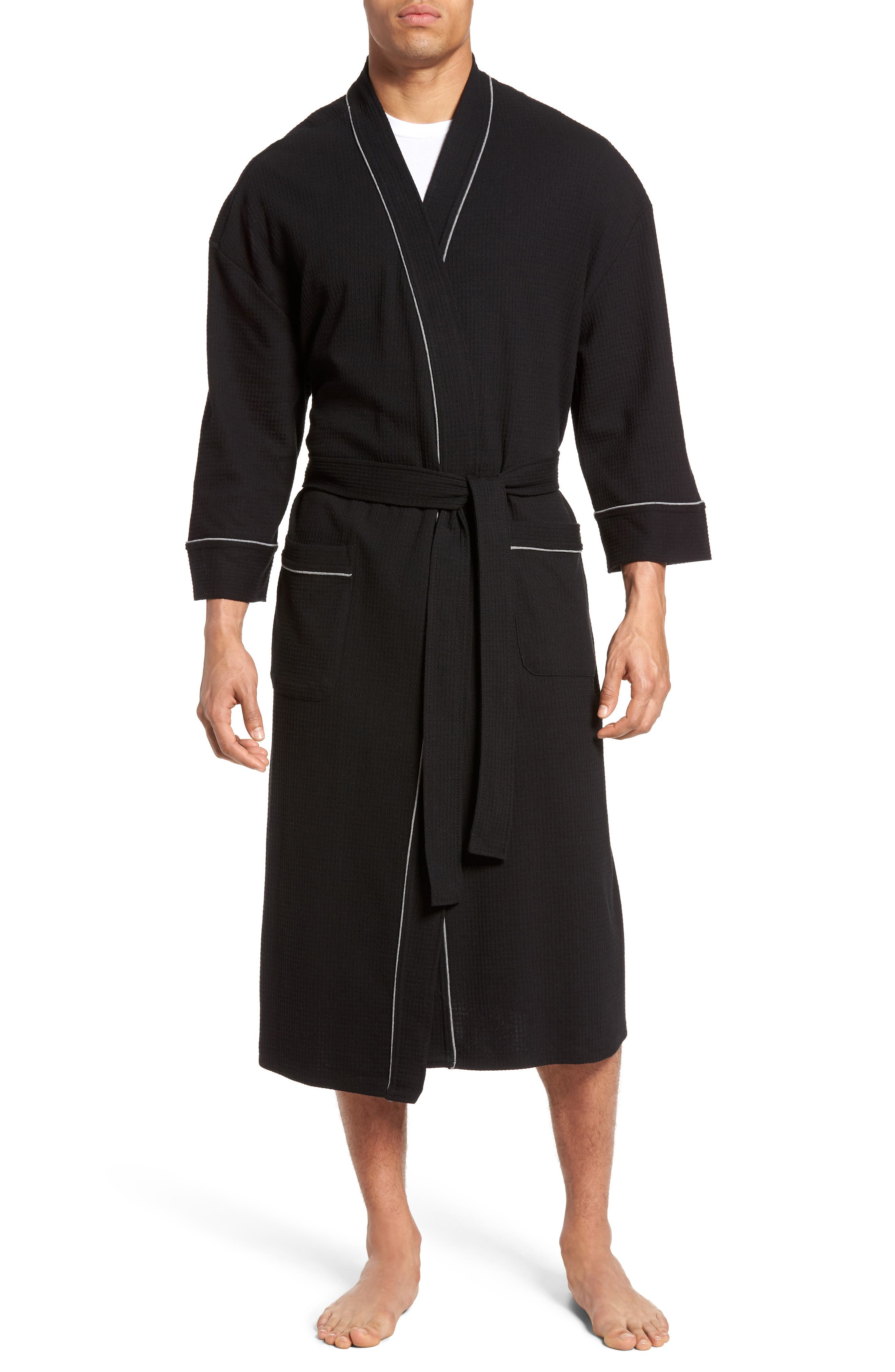 MAJESTIC INTERNATIONAL, Waffle Knit Robe, Main thumbnail 1, color, BLACK