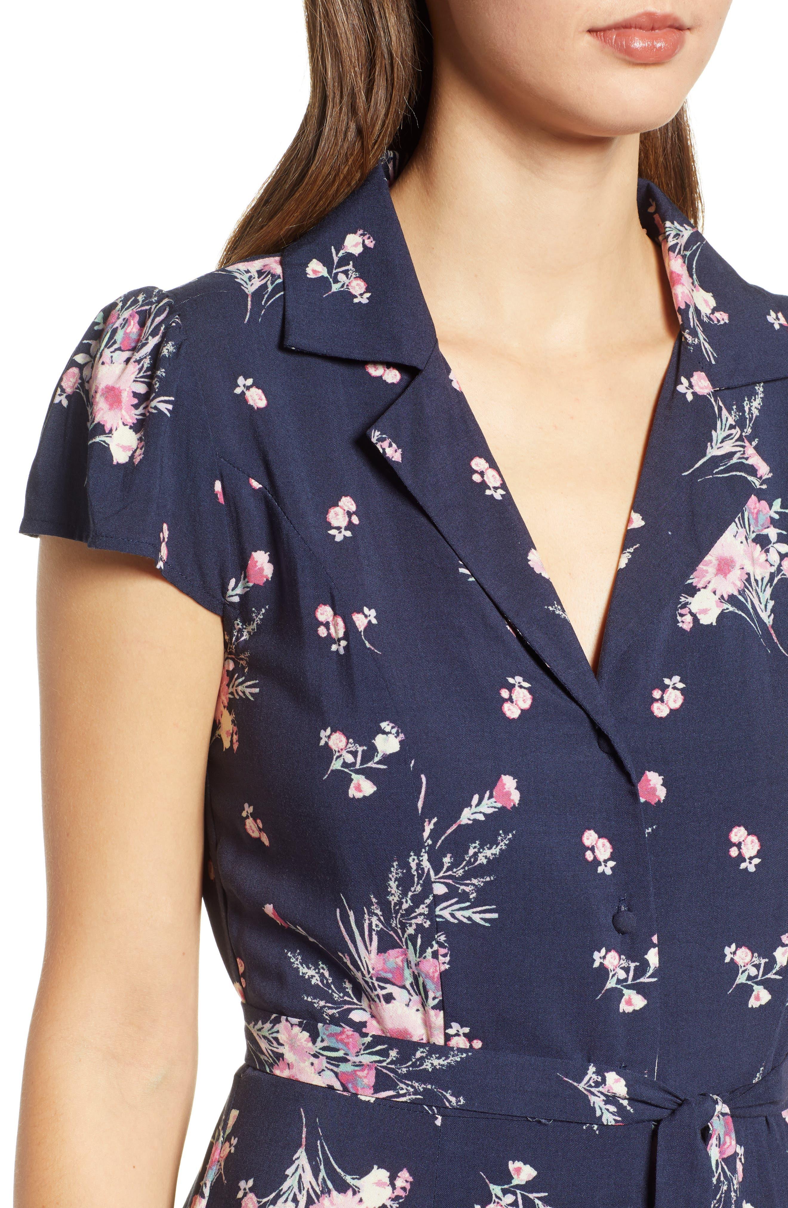 ROW A, Floral Print Maxi Dress, Alternate thumbnail 5, color, NAVY FLORAL