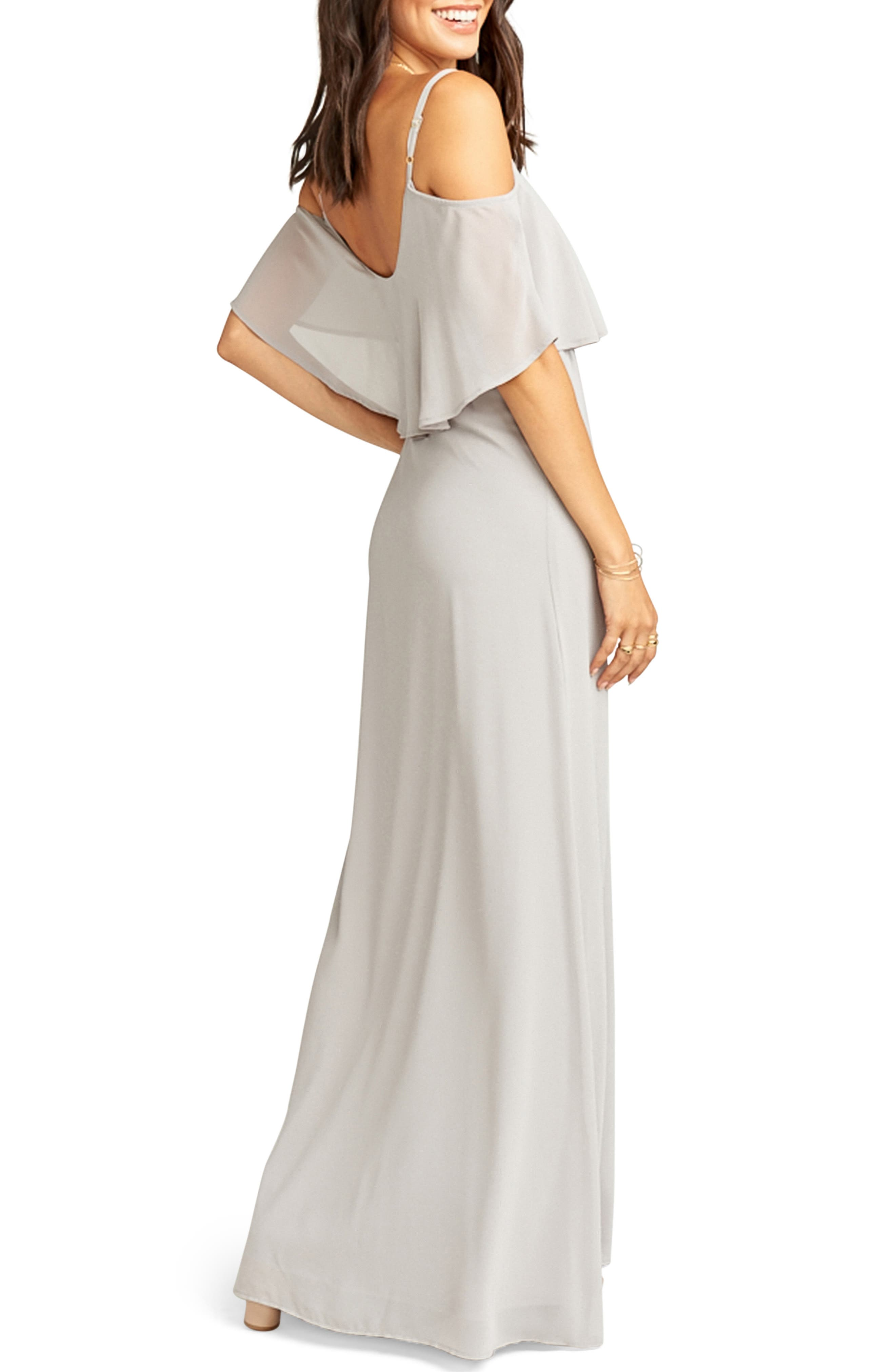 SHOW ME YOUR MUMU, Caitlin Cold Shoulder Chiffon Gown, Alternate thumbnail 2, color, DOVE GREY