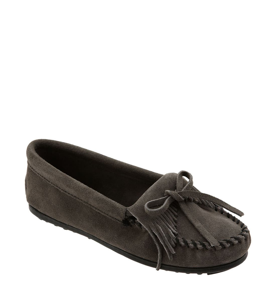MINNETONKA, 'Kilty' Suede Moccasin, Main thumbnail 1, color, GREY