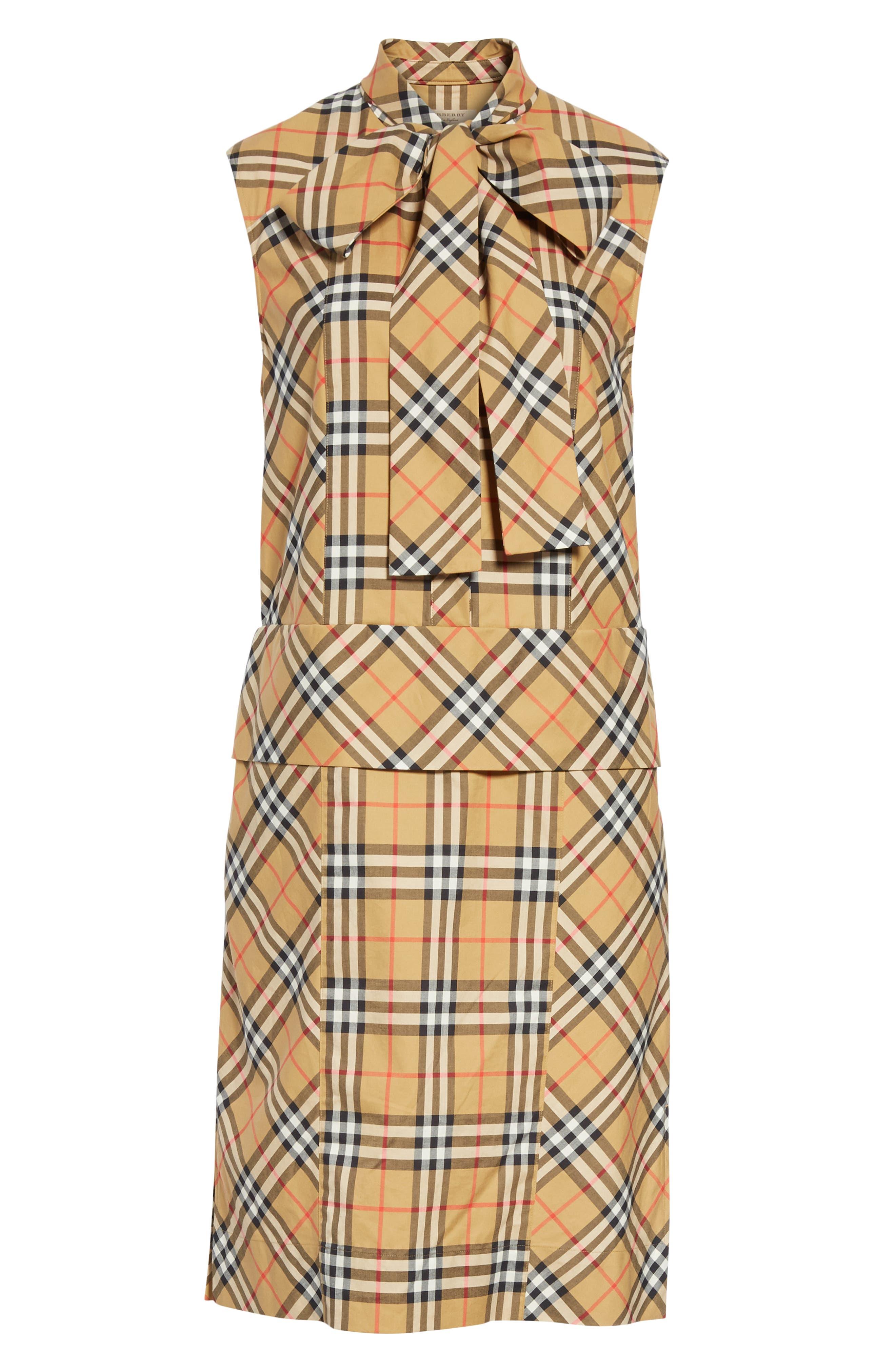 BURBERRY, Luna Tie Neck Check Dress, Alternate thumbnail 7, color, ANTIQUE YELLOW CHECK