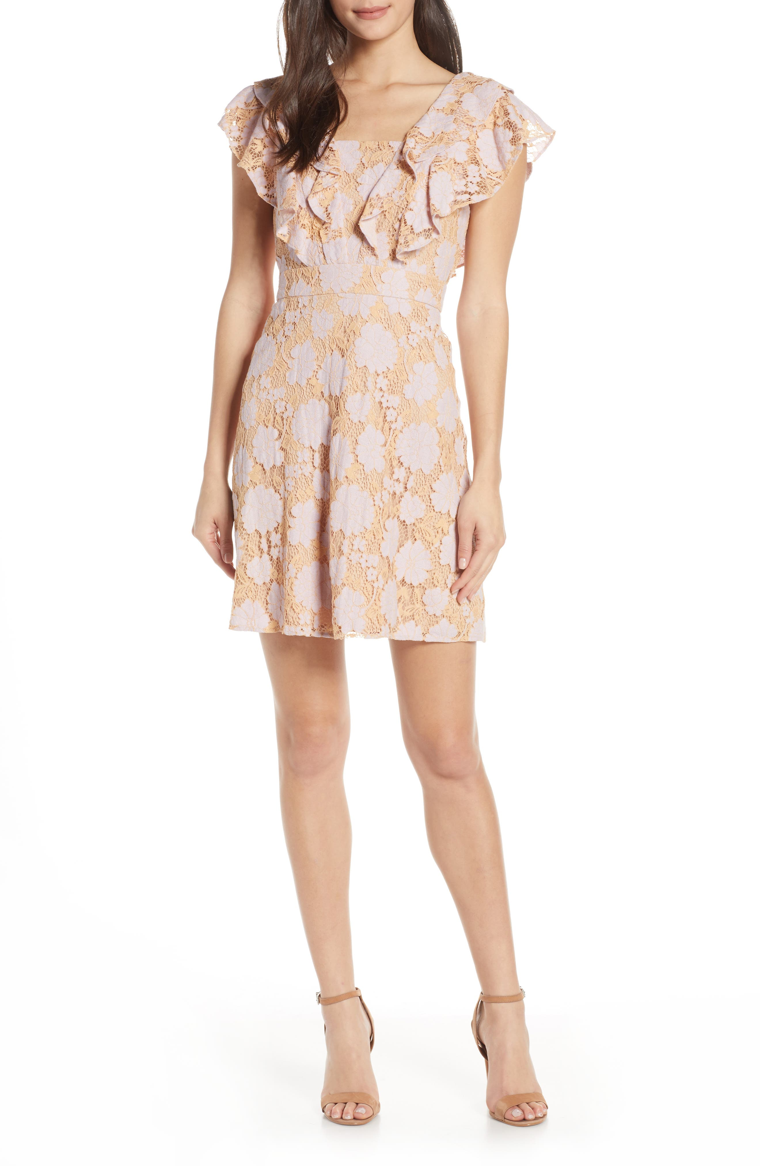 CHARLES HENRY Ruffle Lace Minidress, Main, color, LILAC-PINK LACE