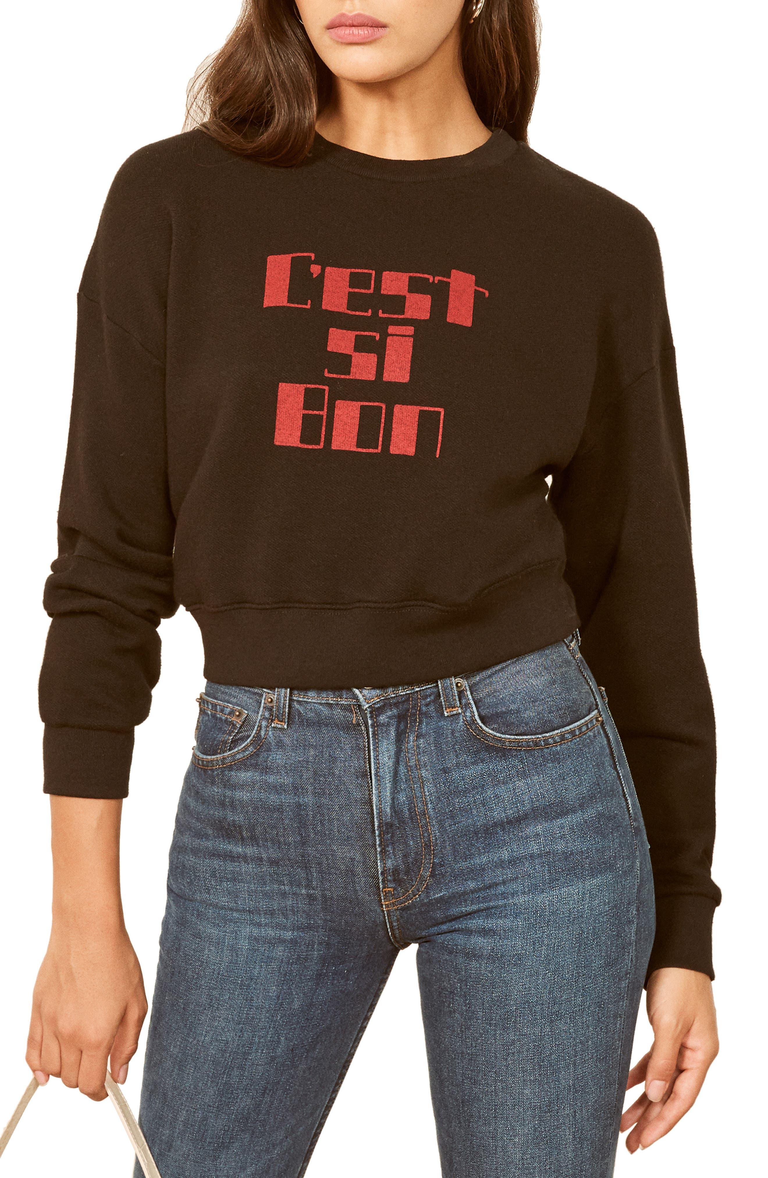 REFORMATION, Hunter Sweatshirt, Main thumbnail 1, color, BLACK CEST BON