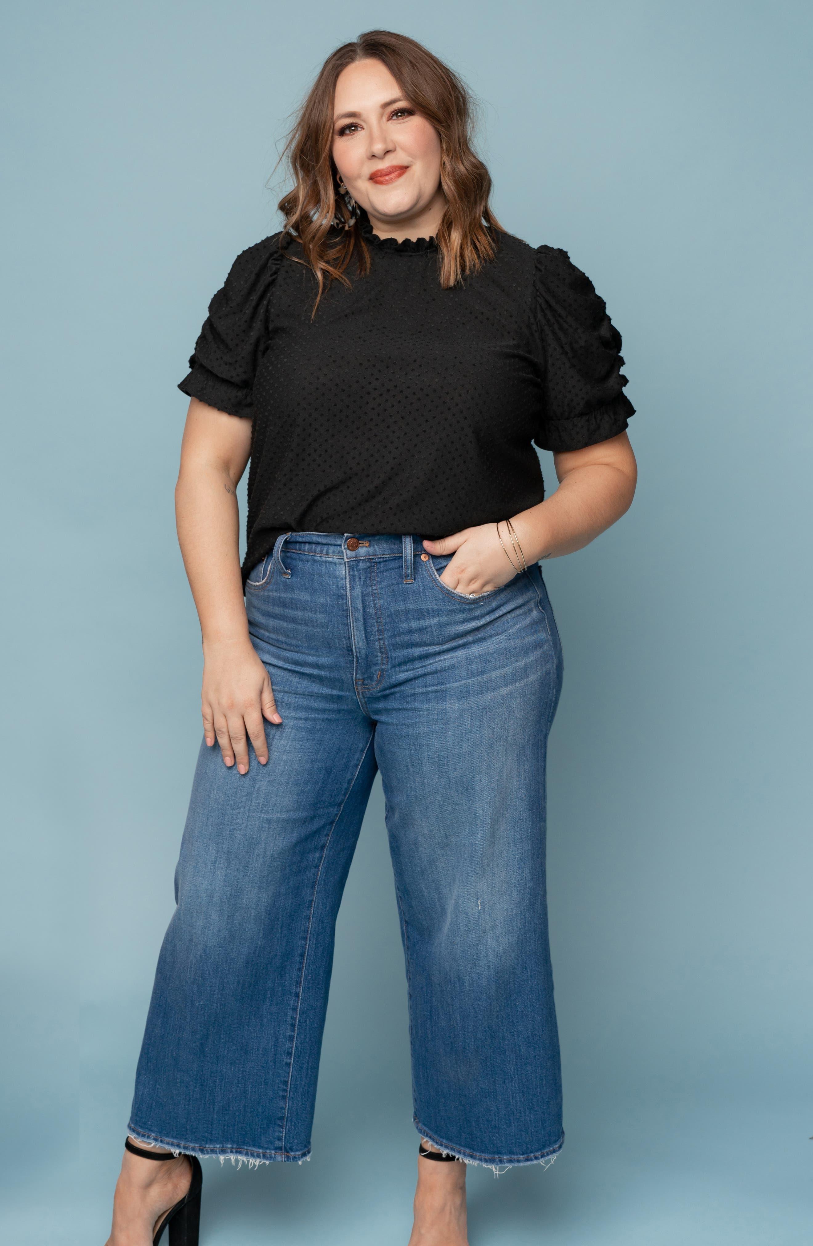 GIBSON, x International Women's Day Rebecca Clip Dot Ruffle Sleeve Blouse, Alternate thumbnail 9, color, CHARCOAL