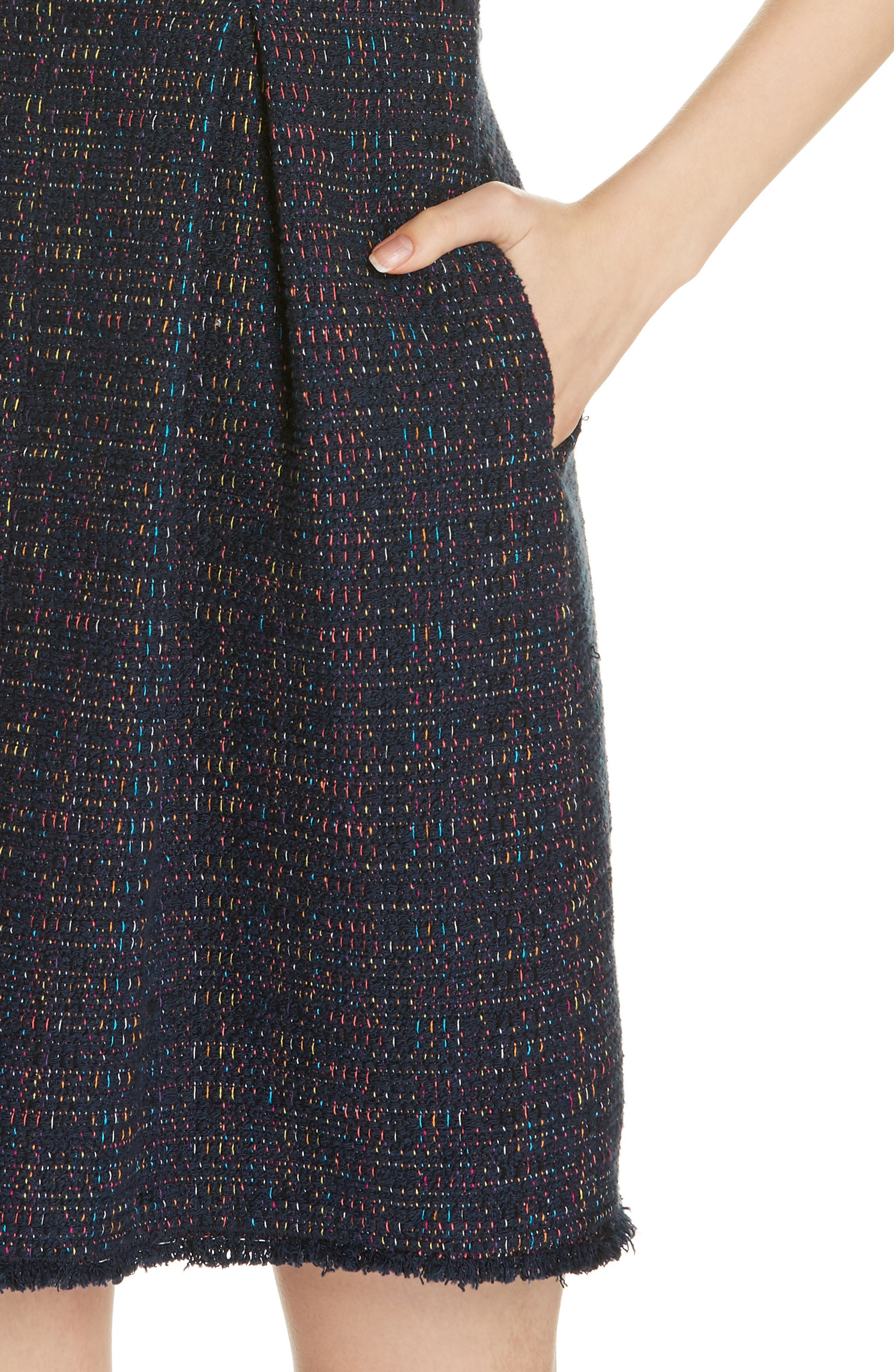 REBECCA TAYLOR, Rainbow Tweed Fit & Flare Dress, Alternate thumbnail 5, color, NAVY