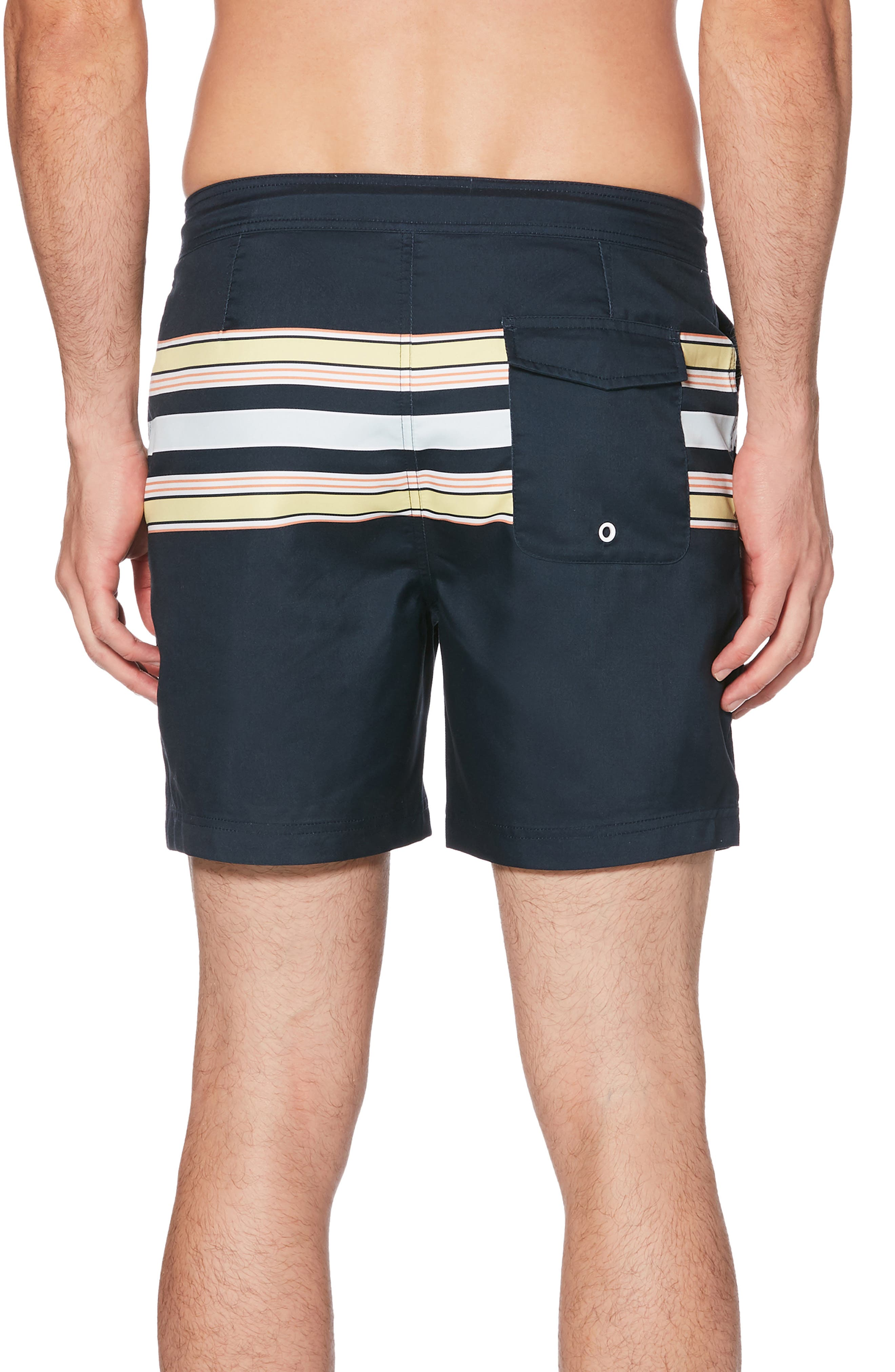 ORIGINAL PENGUIN, Retro Stripe Swim Trunks, Alternate thumbnail 2, color, DARK SAPPHIRE