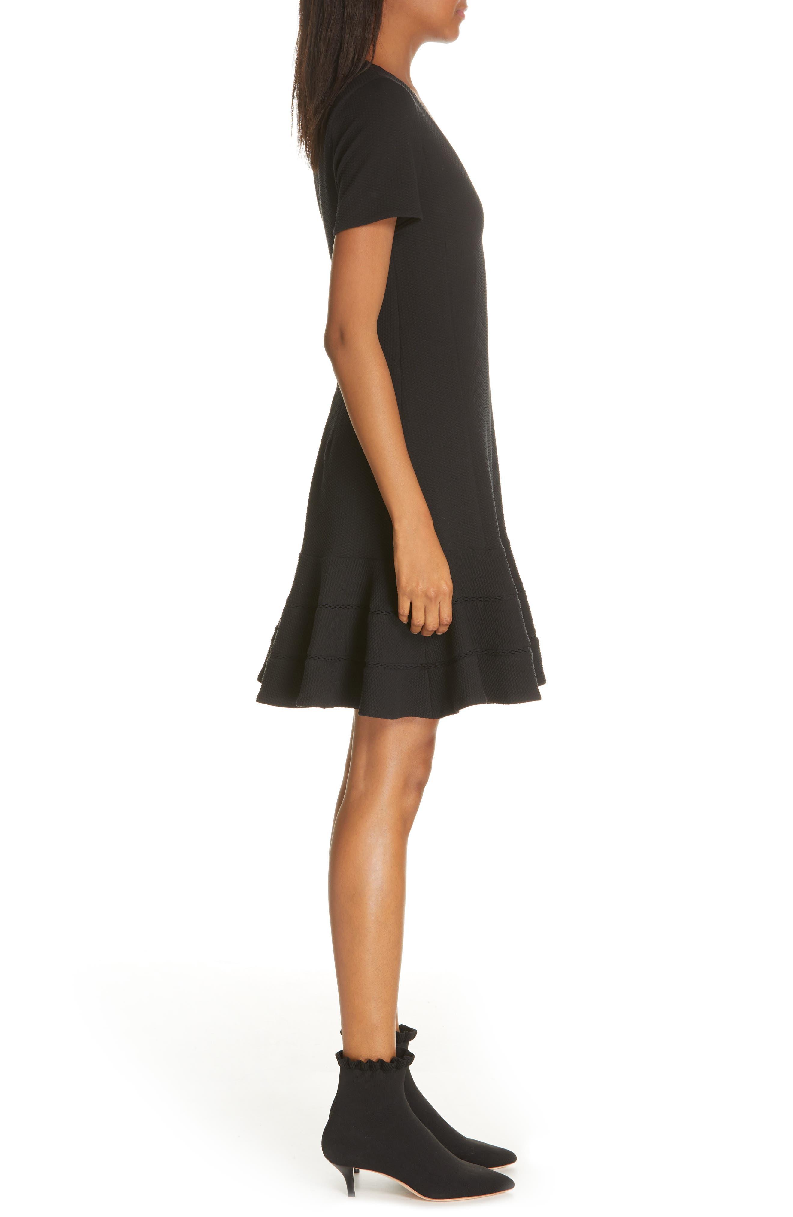 REBECCA TAYLOR, Fit & Flare Dress, Alternate thumbnail 3, color, BLACK