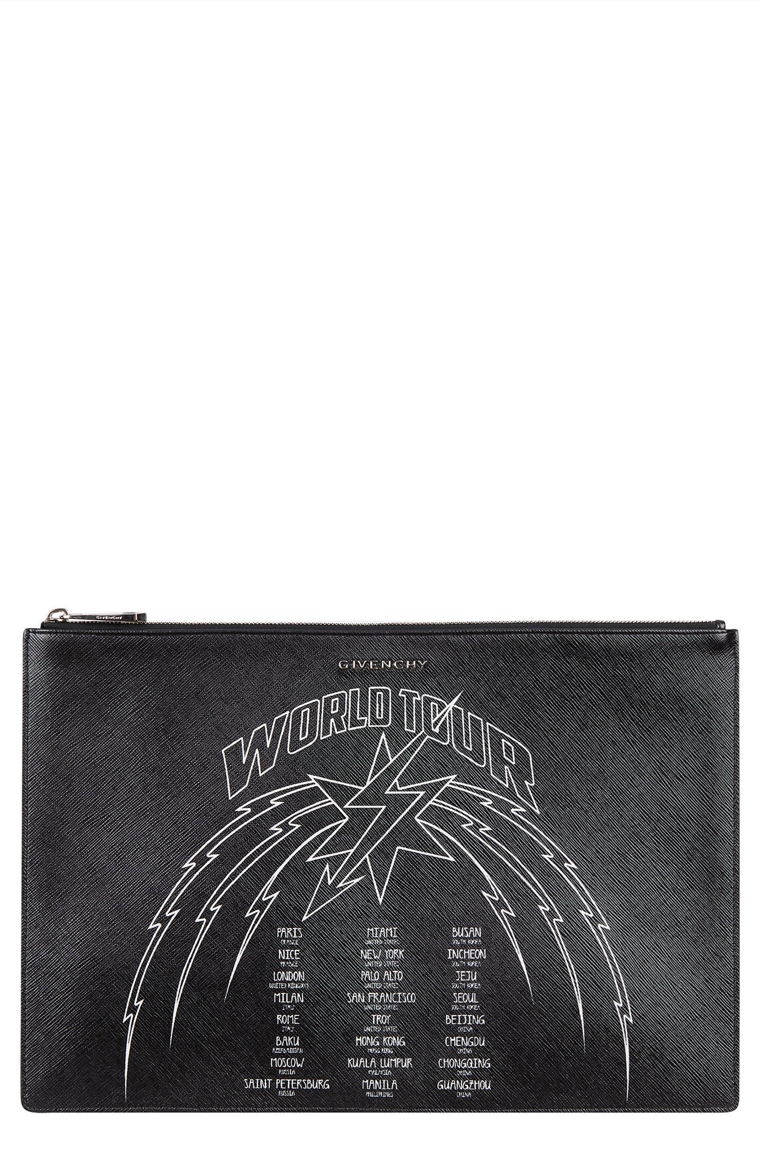 GIVENCHY, World Tour Graphic Pouch, Main thumbnail 1, color, BLACK/ WHITE