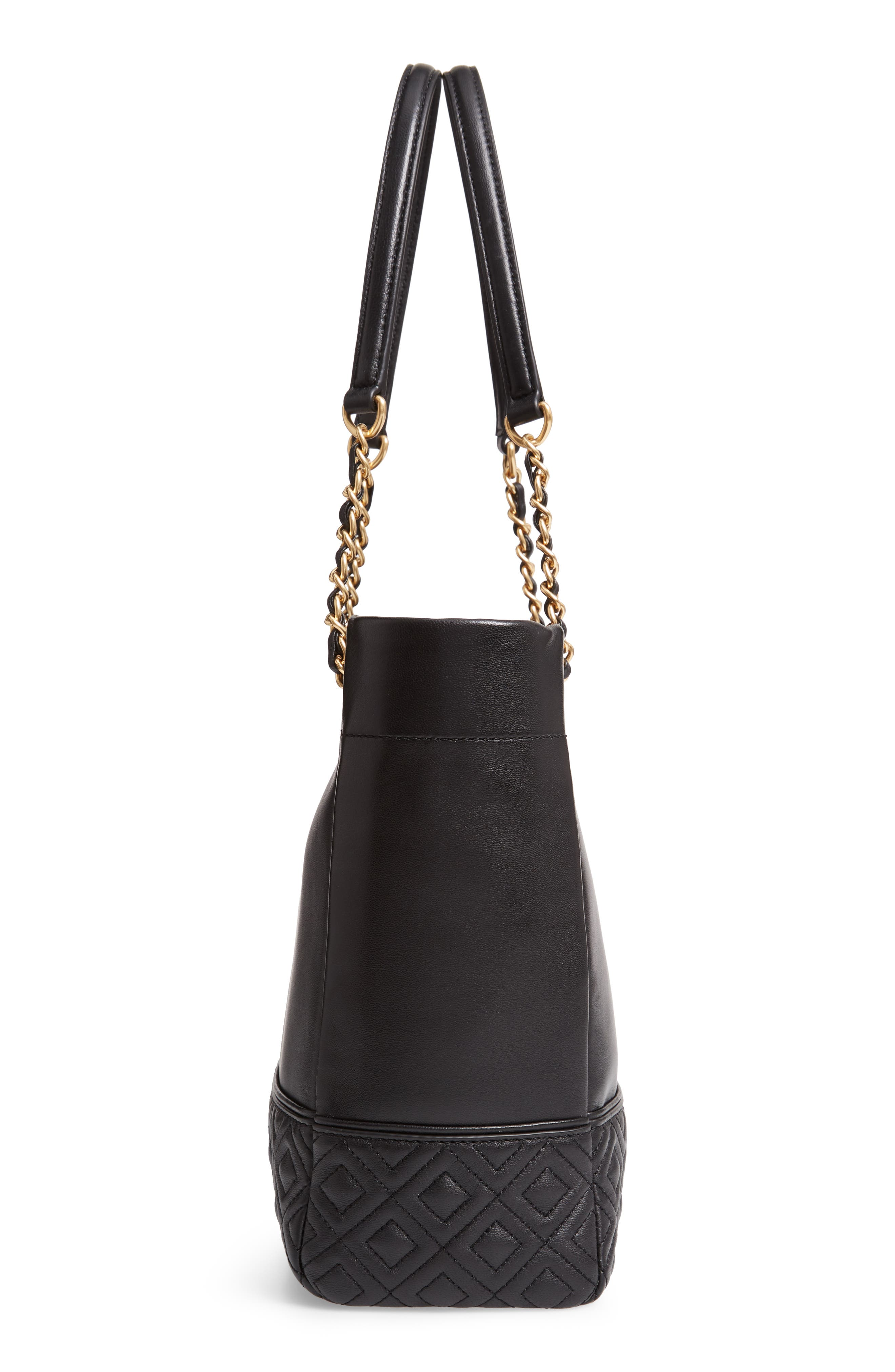 TORY BURCH, Fleming Leather Tote, Alternate thumbnail 6, color, BLACK
