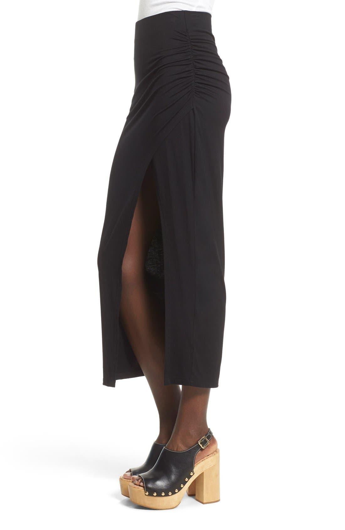 ASTR THE LABEL, ASTR High Slit Maxi Skirt, Alternate thumbnail 2, color, 001