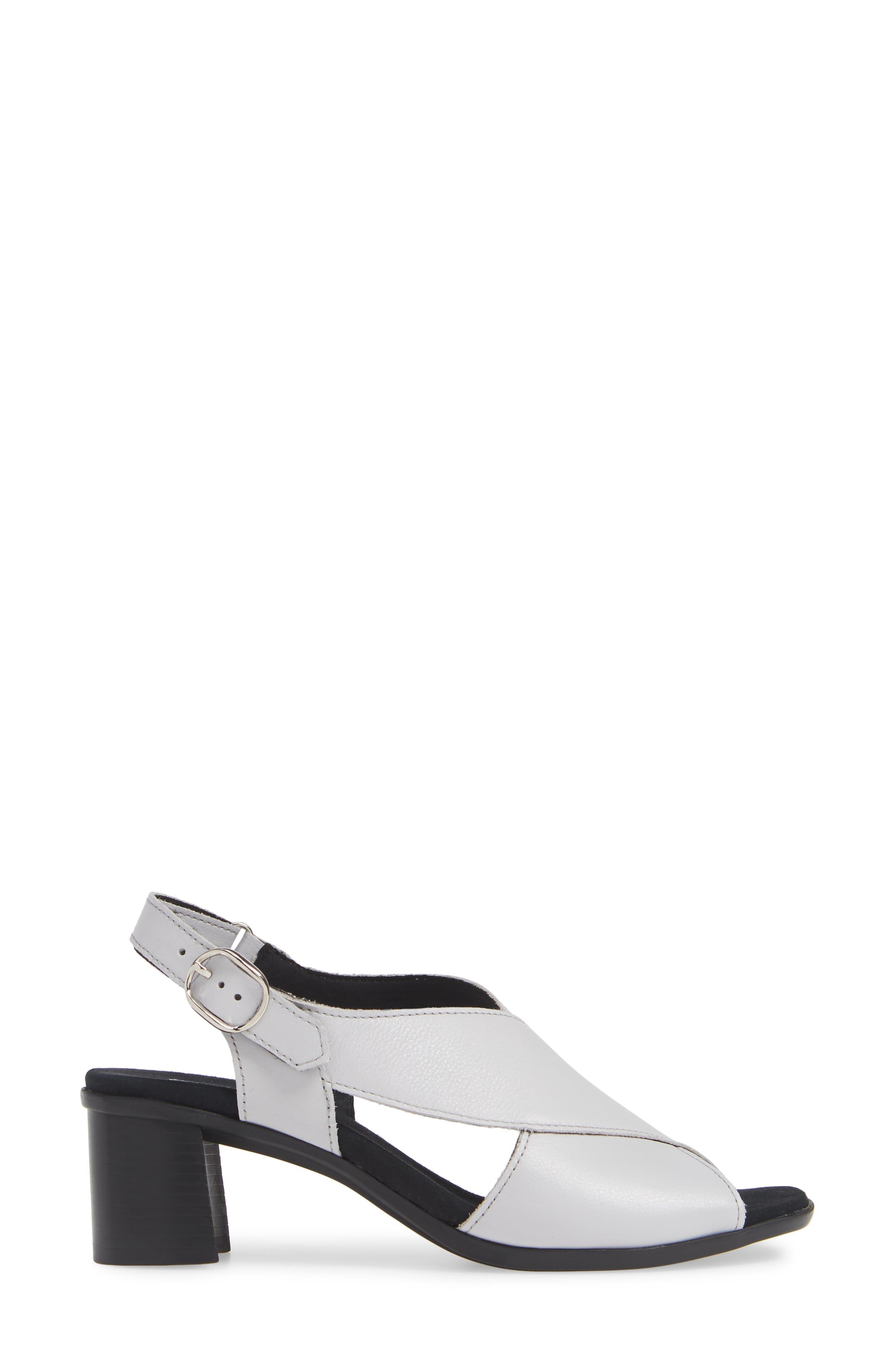 MUNRO, Laine Block Heel Sandal, Alternate thumbnail 3, color, WHITE LEATHER