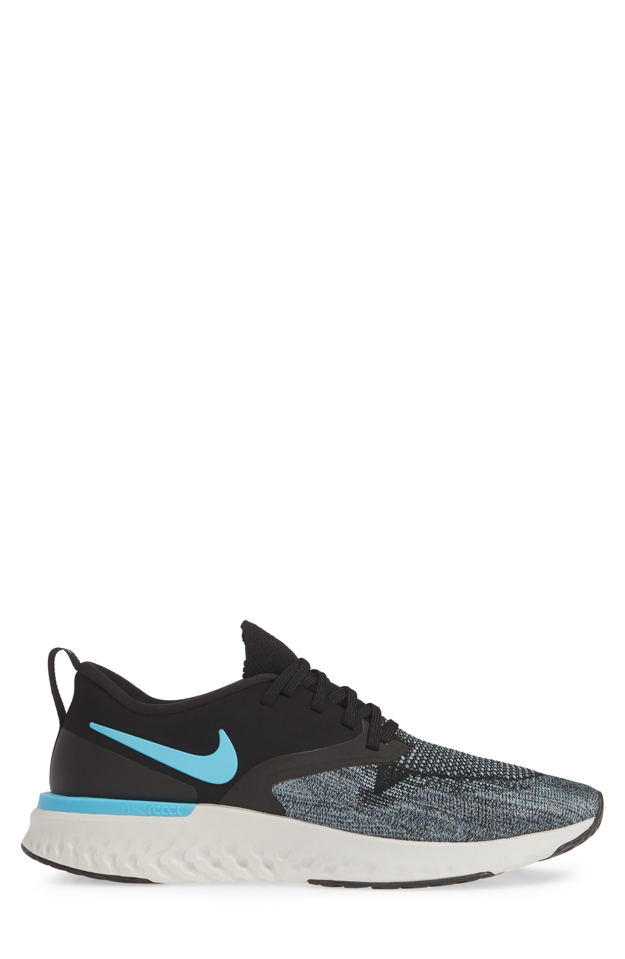 NIKE, Odyssey React 2 Flyknit Running Shoe, Alternate thumbnail 3, color, BLACK/ BLUE FURY/ AVIATOR GREY