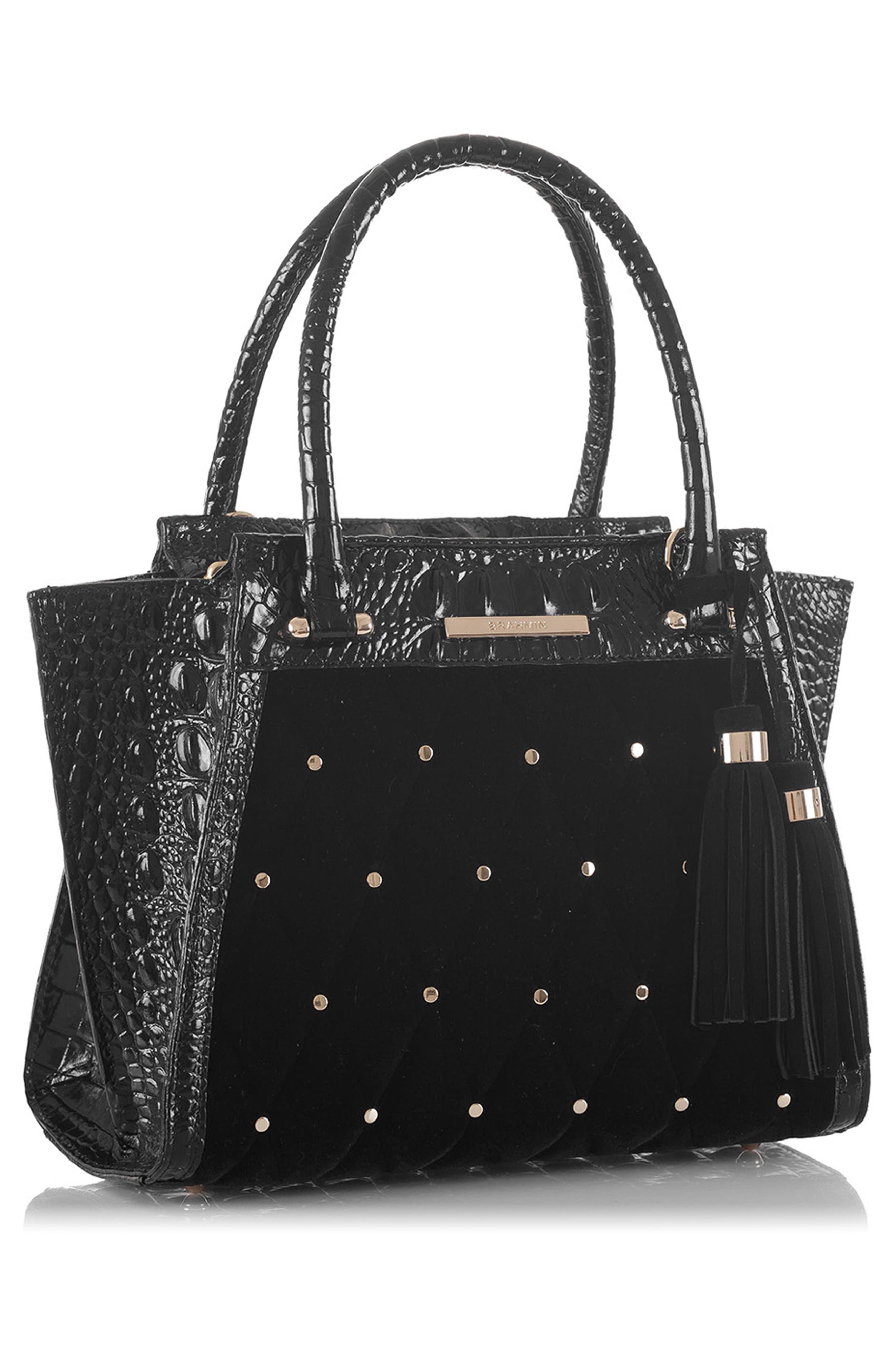 BRAHMIN, Mini Priscilla Studded Suede & Leather Satchel, Alternate thumbnail 4, color, BLACK
