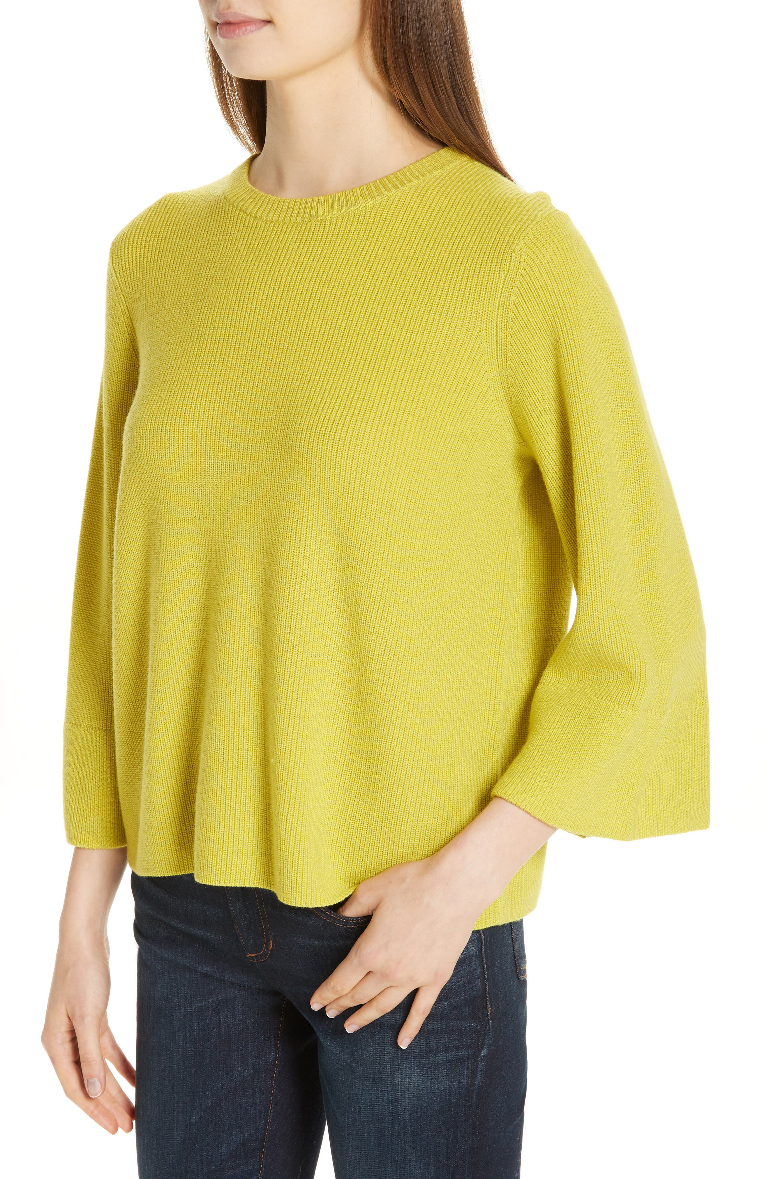 EILEEN FISHER, Three Quarter Sleeve Sweater, Alternate thumbnail 4, color, VERBENA