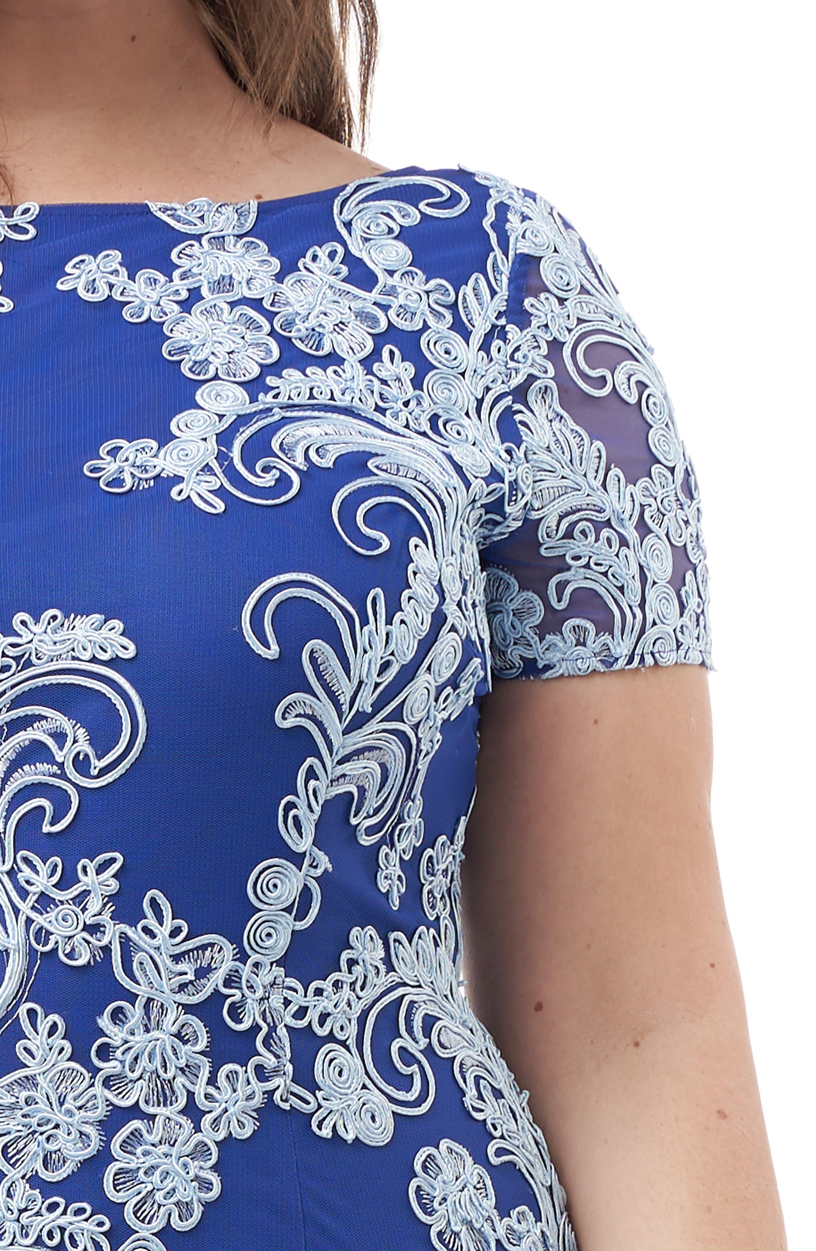 JS COLLECTIONS, Soutache Cocktail Sheath Dress, Alternate thumbnail 4, color, SKY
