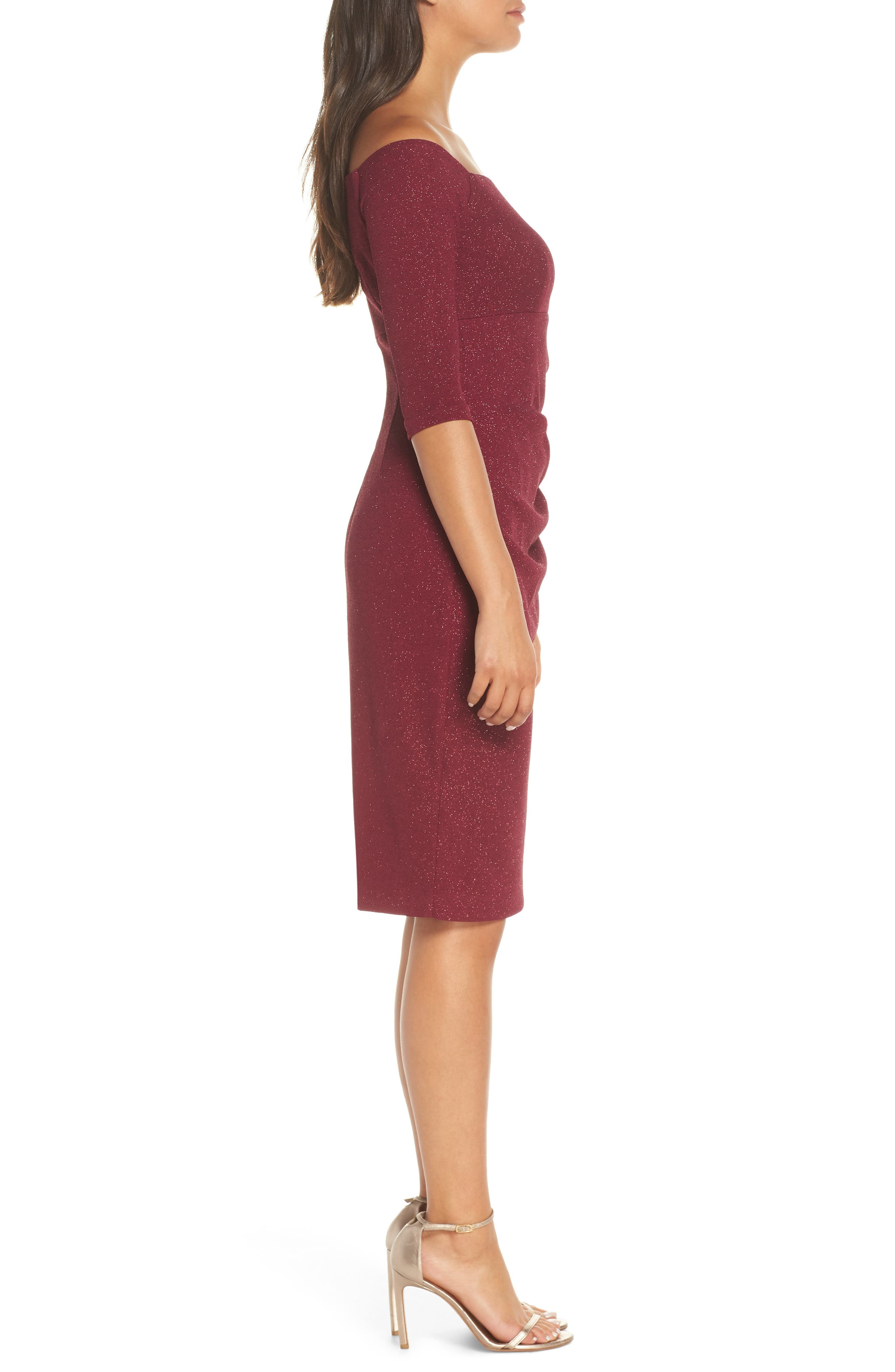 ELIZA J, Off the Shoulder Sheath Dress, Alternate thumbnail 4, color, WINE