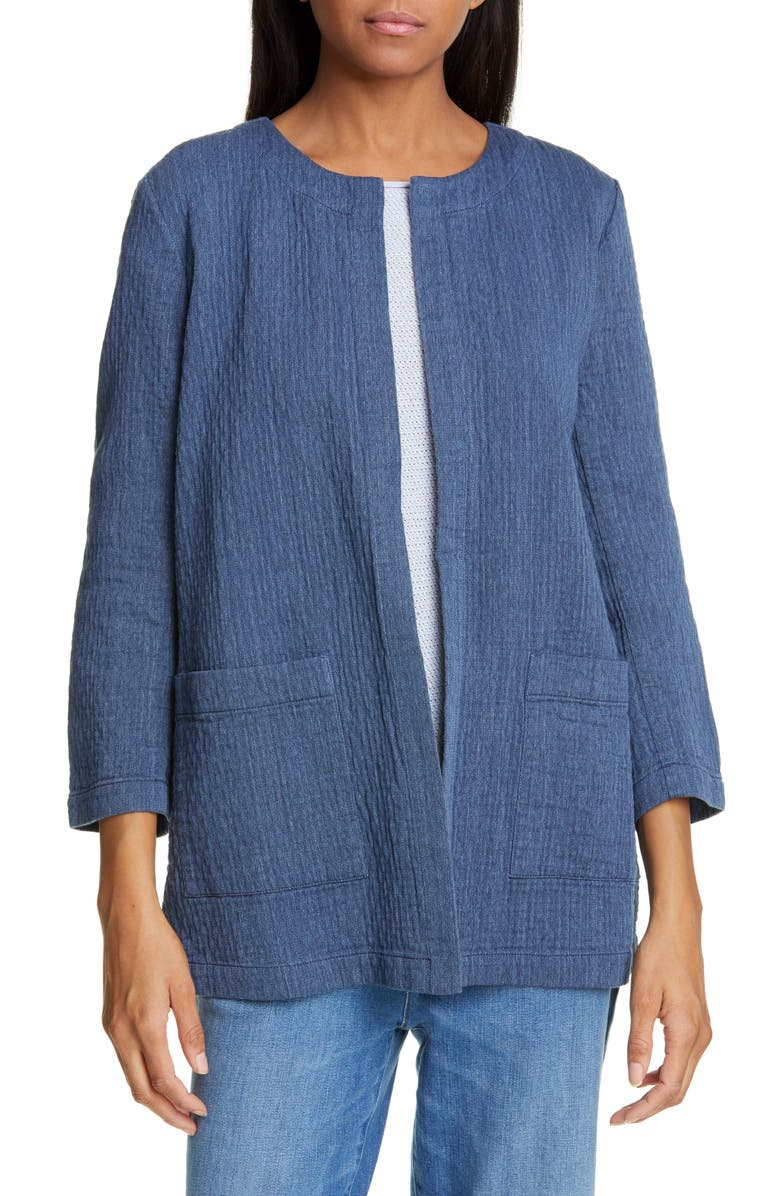 Eileen Fisher Jackets QUILTED COTTON & LINEN JACKET