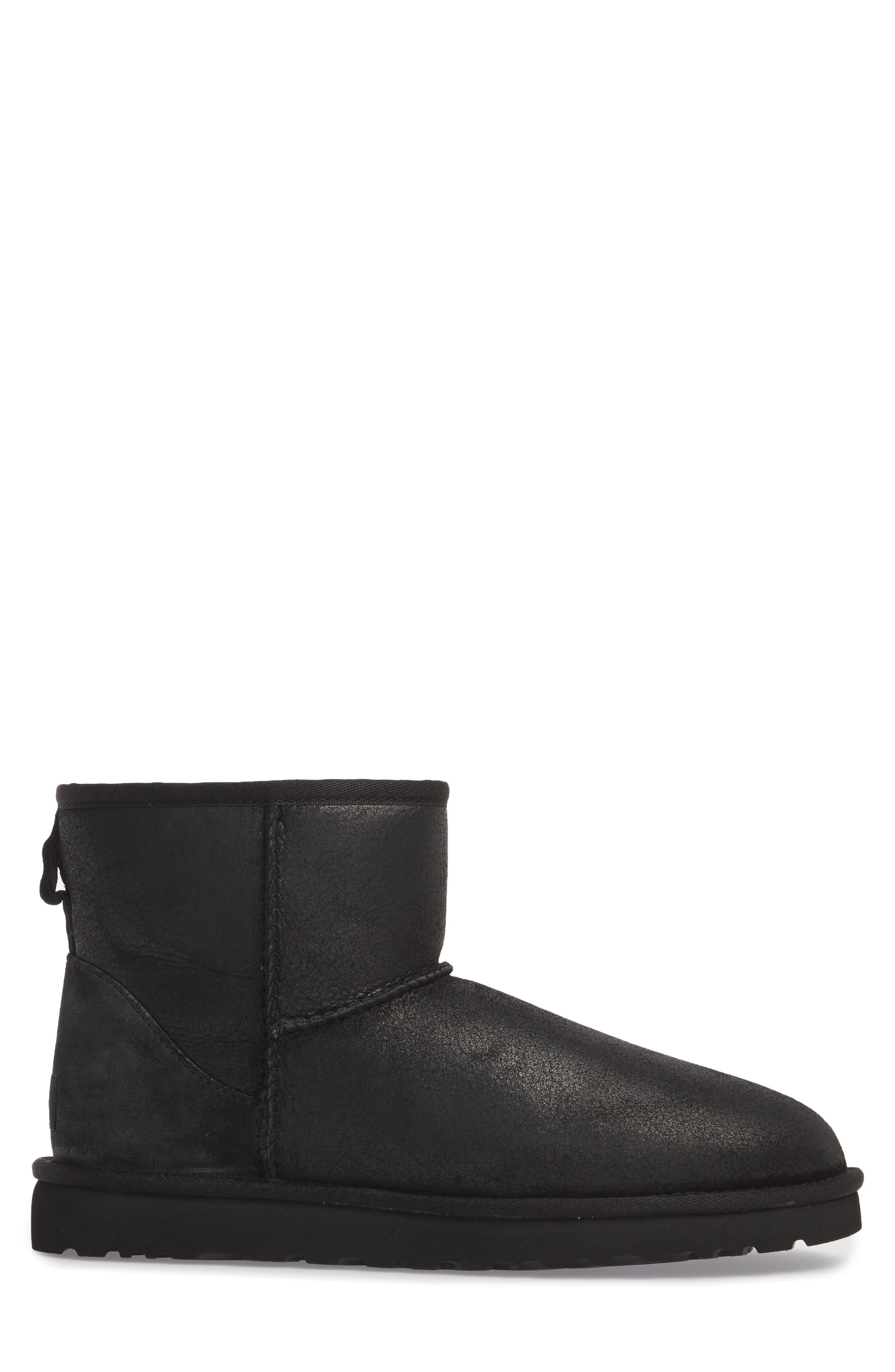 UGG<SUP>®</SUP>, Classic Mini Bomber Boot with Genuine Shearling or UGGpure<sup>™</sup> Lining, Alternate thumbnail 3, color, BOMBER JACKET BLACK