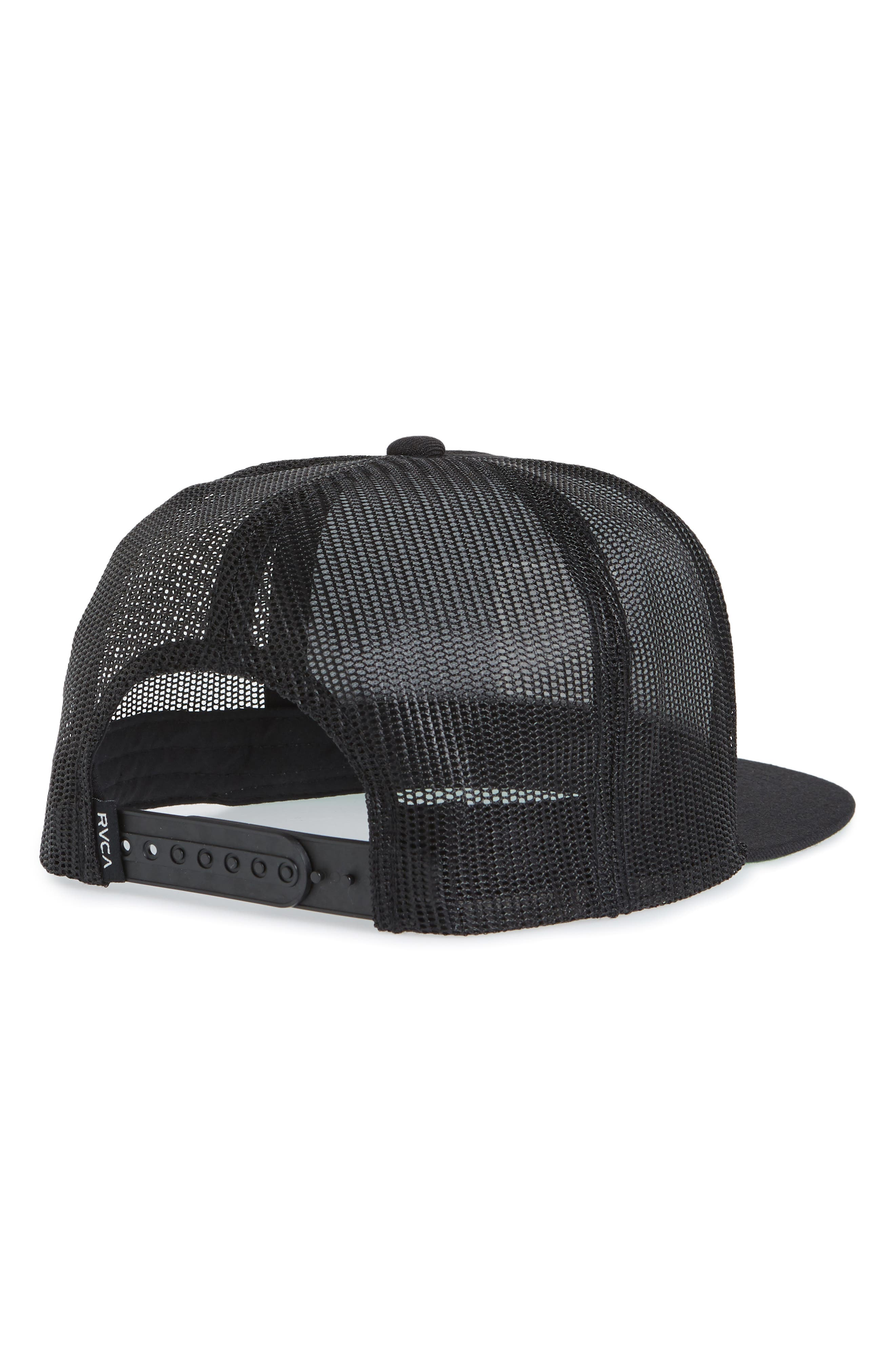 RVCA, VA All the Way Trucker Hat, Alternate thumbnail 2, color, BLACK