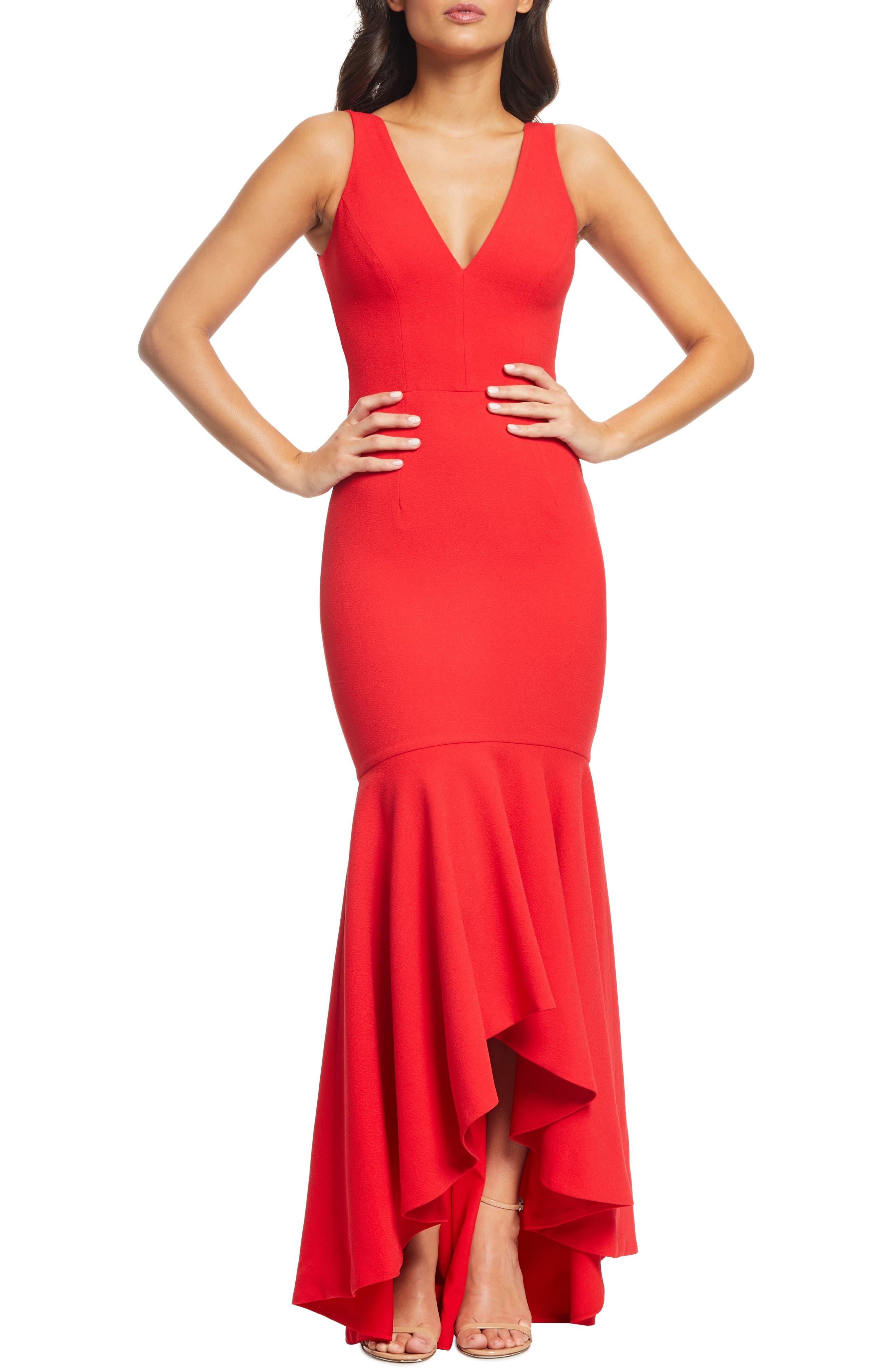 Dress The Population Demi High/low Mermaid Hem Evening Dress, Red