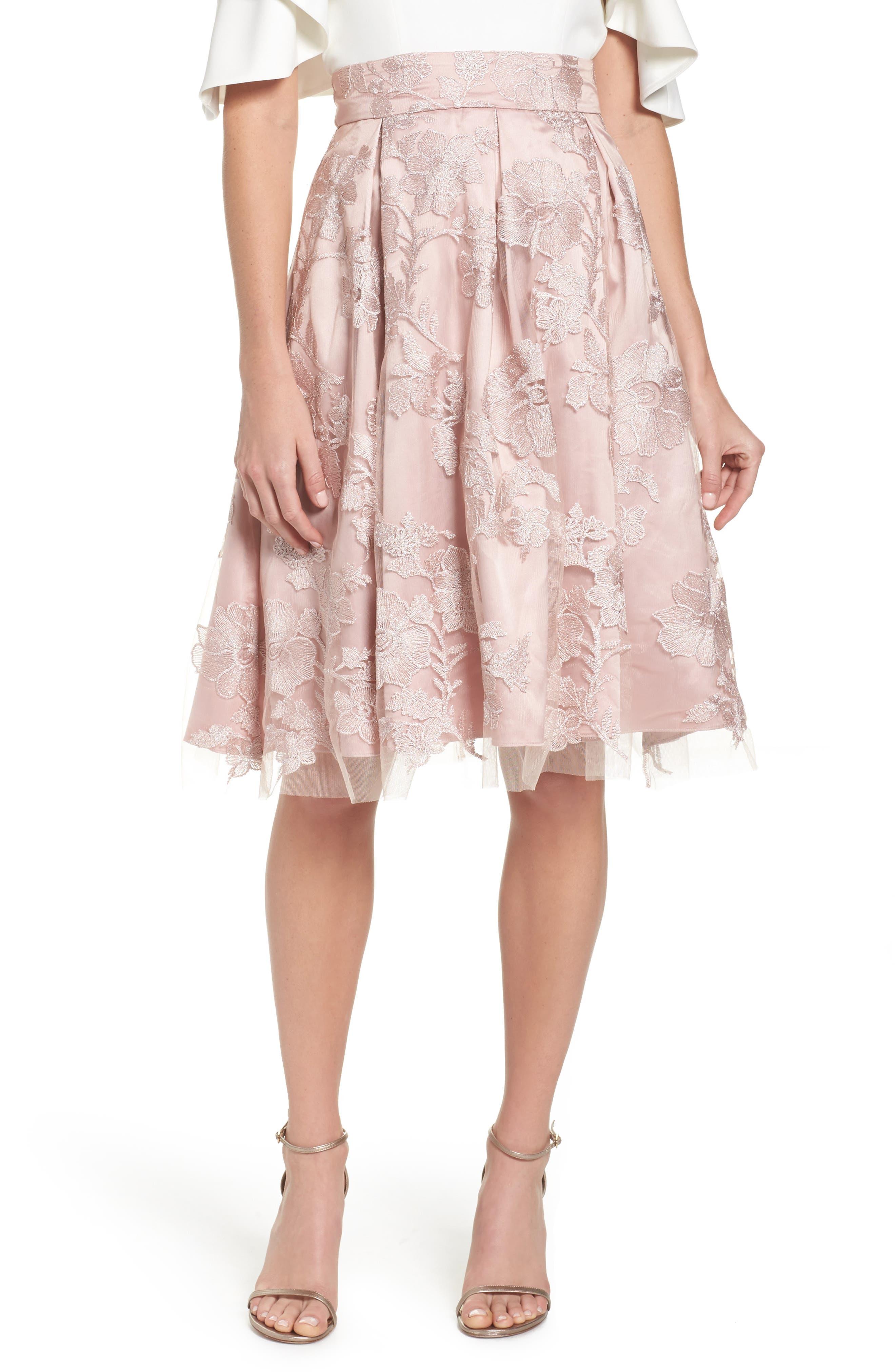 ELIZA J Floral Embroidered Skirt, Main, color, 254