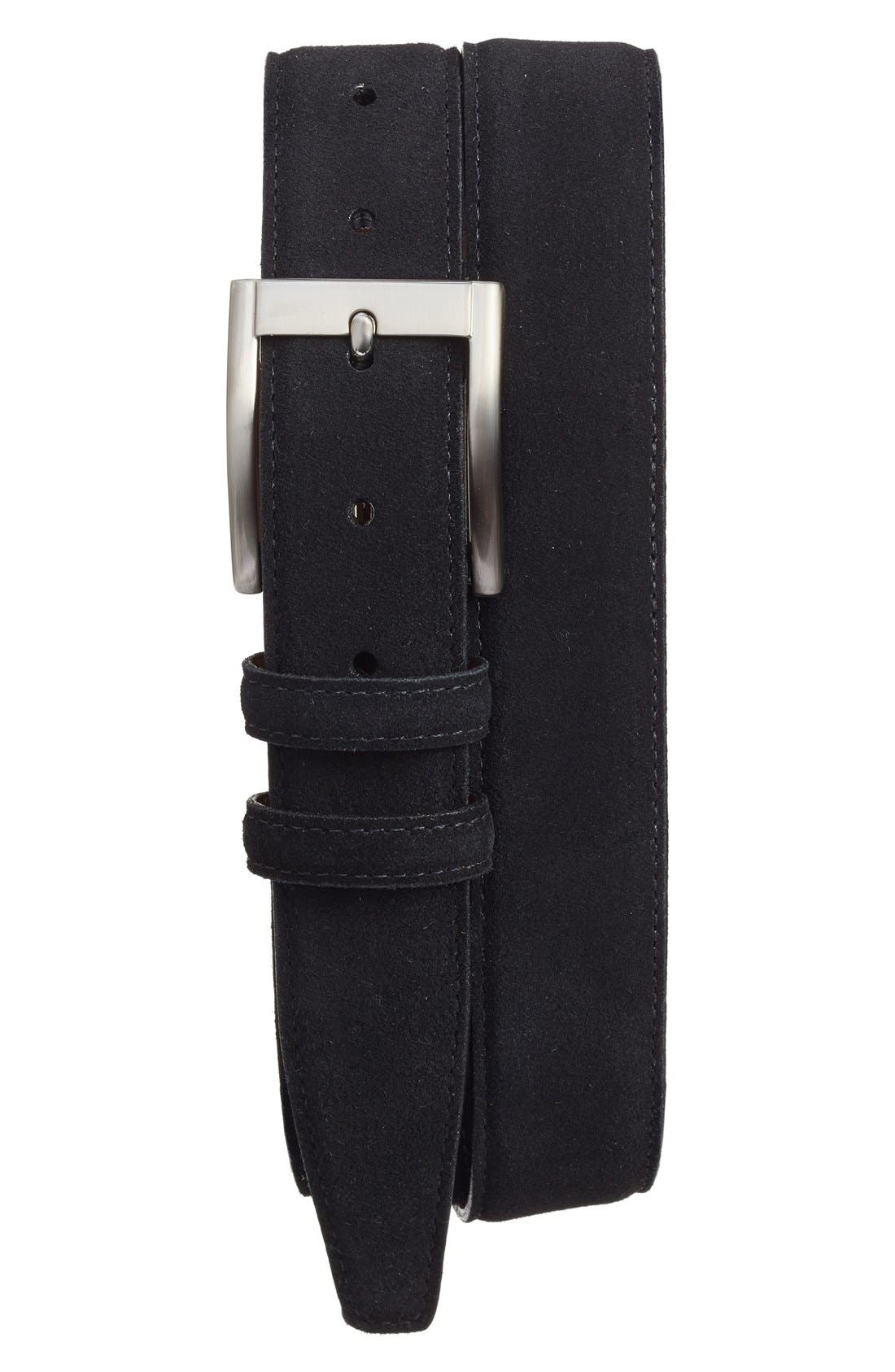 TORINO Suede Belt, Main, color, BLACK