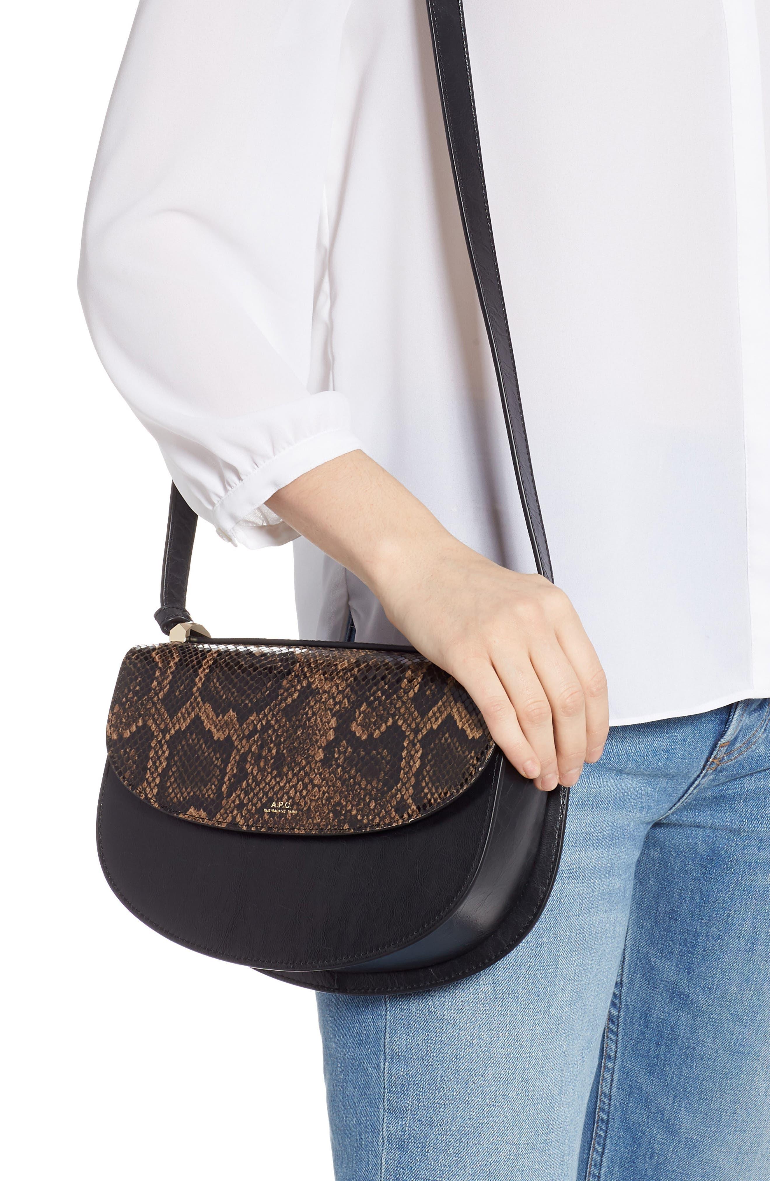 A.P.C., Sac Genève Snake Embossed Leather Shoulder Bag, Alternate thumbnail 2, color, NOIR