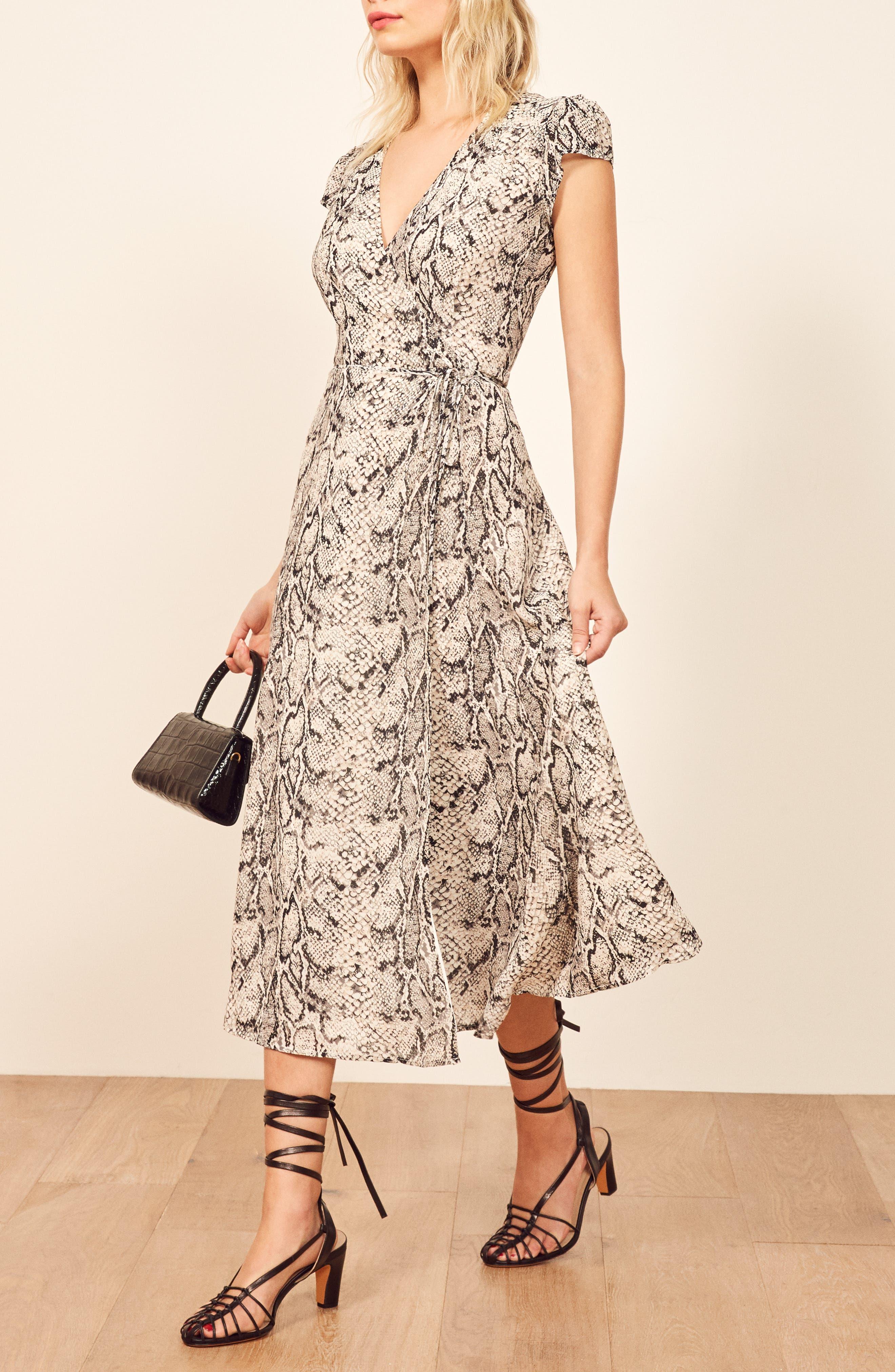 REFORMATION, Carina Midi Wrap Dress, Alternate thumbnail 5, color, RATTLESNAKE