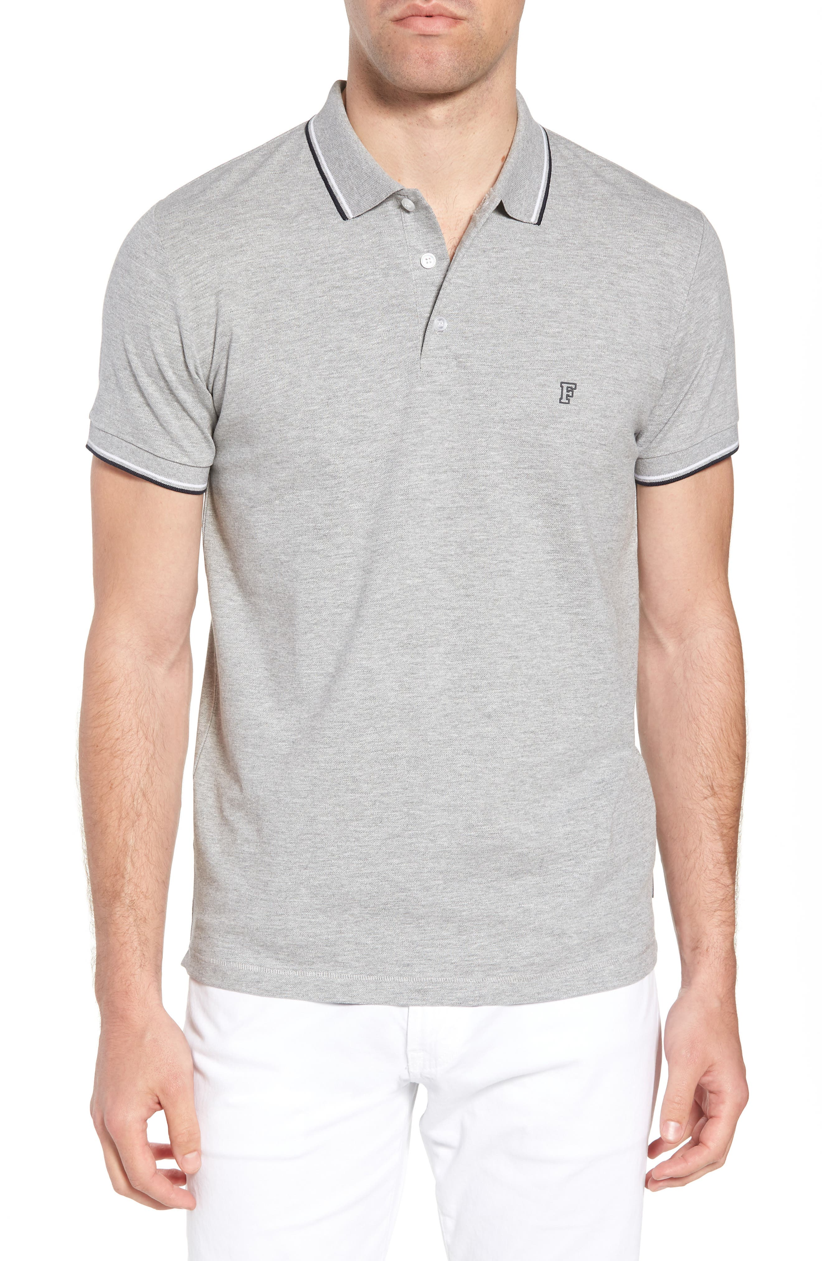 FRENCH CONNECTION, Cotton Polo Shirt, Main thumbnail 1, color, GREY MELANGE