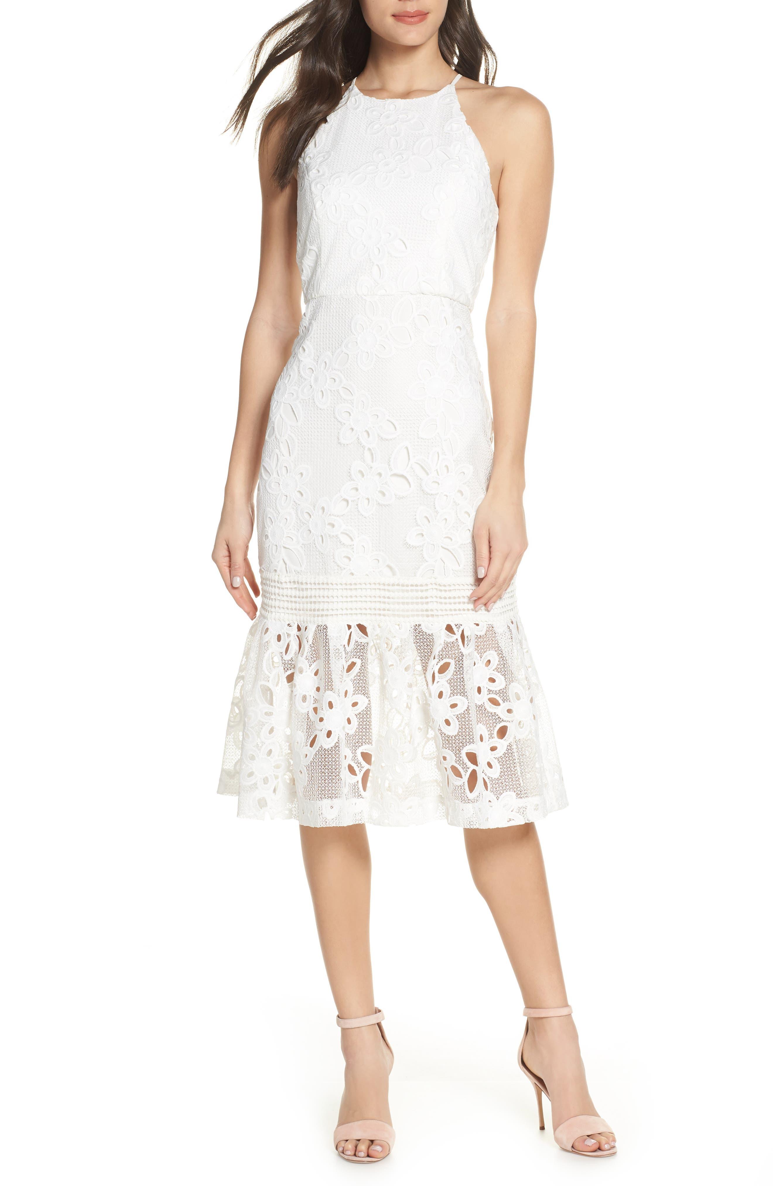 Mark + James By Badgley Mischka Lace Halter Dress, Ivory